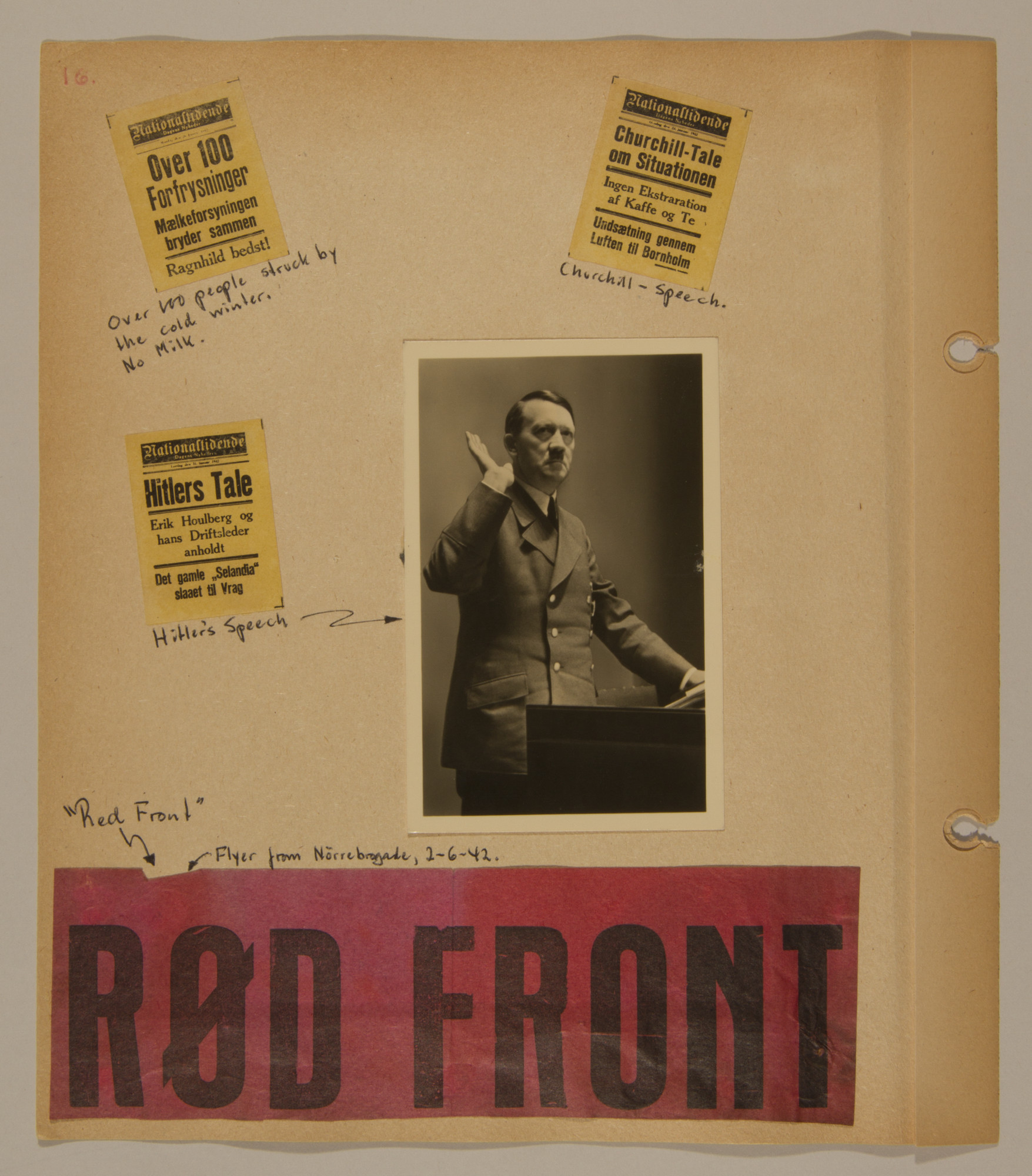 Page from volume two of a set of scrapbooks compiled by Bjorn Sibbern, a Danish policeman and resistance member, documenting the German occupation of Denmark.  This page has a photograph of Hitler, a communist flyer and headlines from 1942.