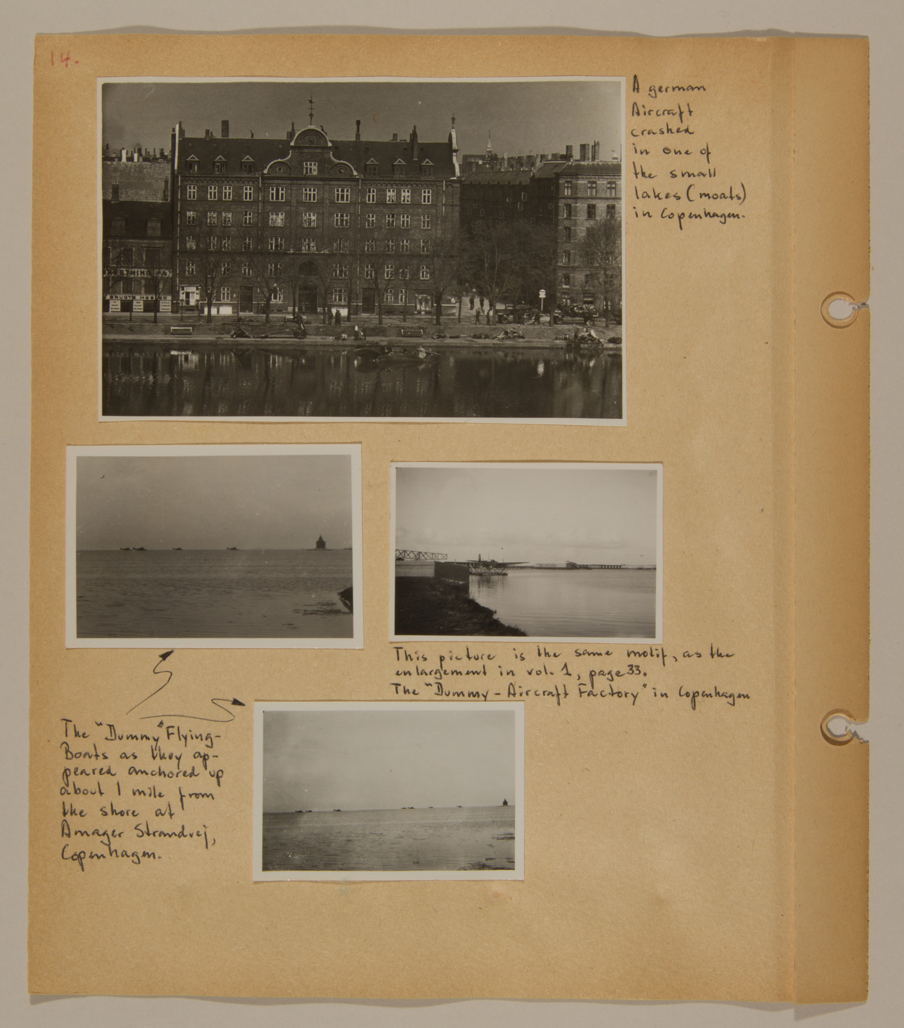 Page from volume two of a set of scrapbooks compiled by Bjorn Sibbern, a Danish policeman and resistance member, documenting the German occupation of Denmark.  This page has photographs of a downed German aircraft and a dummy aircraft factory.