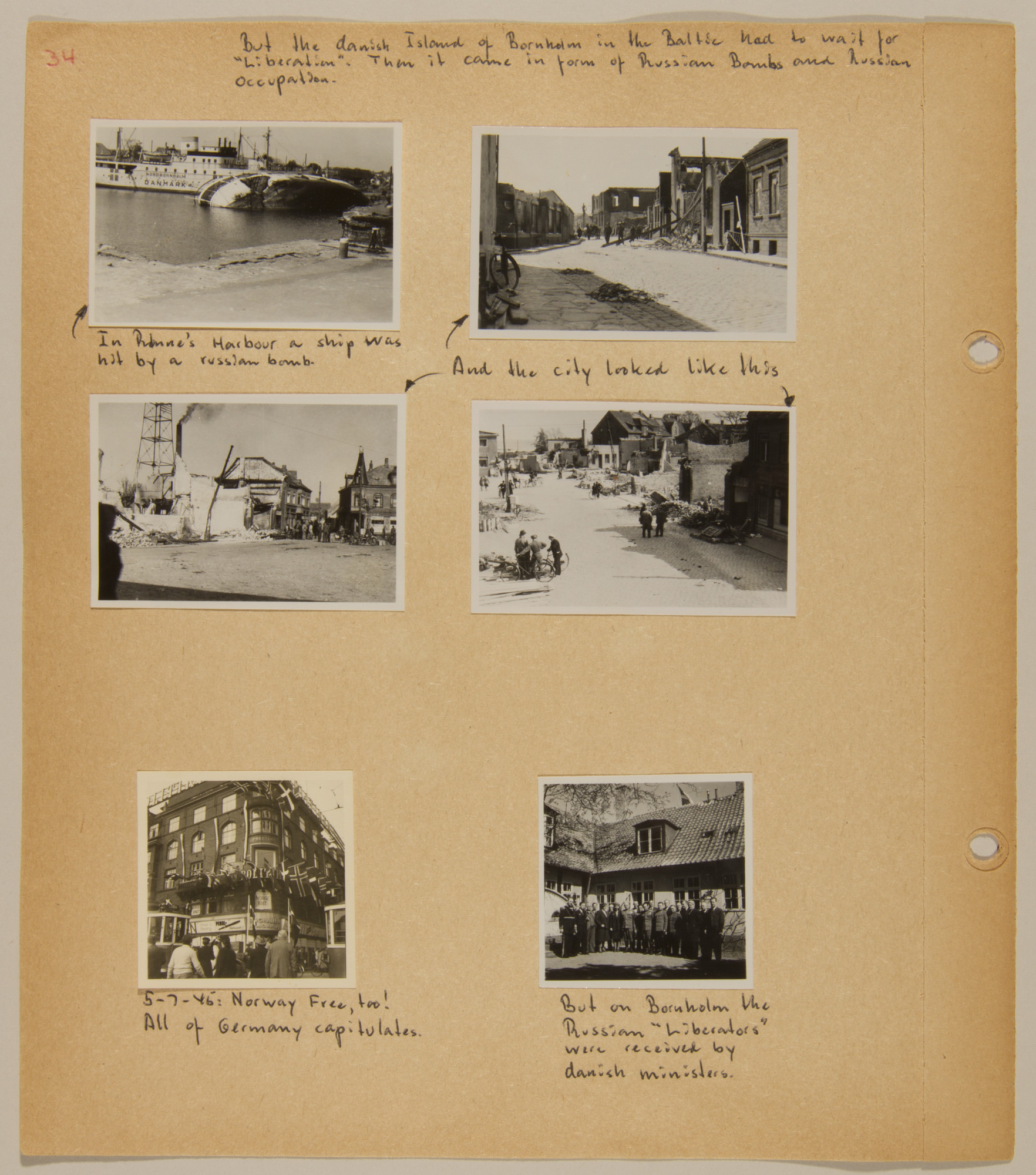 Page from volume five of a set of scrapbooks compiled by Bjorn Sibbern, a Danish policeman and resistance member, documenting the German occupation of Denmark.  This page contains photographs of the island of Bornholm that was occupied by the Soviets after the surrender of the Germans.