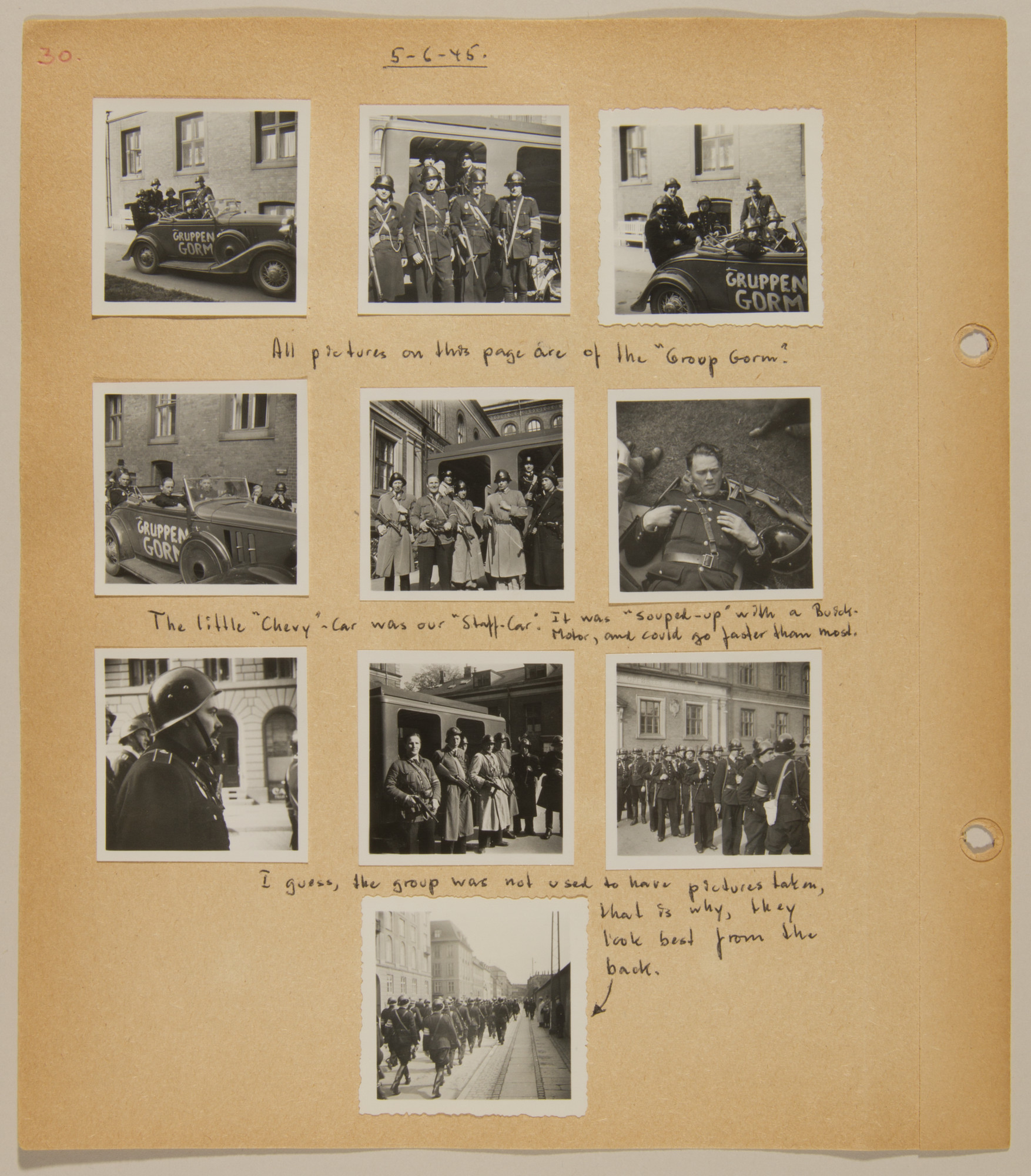 Page from volume five of a set of scrapbooks compiled by Bjorn Sibbern, a Danish policeman and resistance member, documenting the German occupation of Denmark.  This page contains photographs of the end of the Nazi occupation of Denmark.