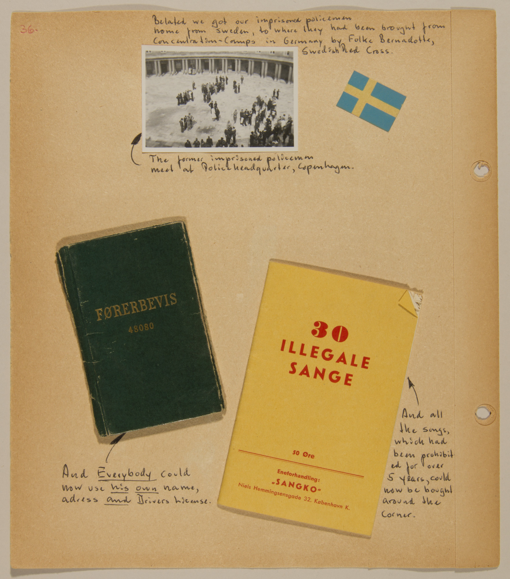 Page from volume five of a set of scrapbooks compiled by Bjorn Sibbern, a Danish policeman and resistance member, documenting the German occupation of Denmark.  This page contains a photograph of the return of the Danish policemen from concentration camp, a songbook of previously censored songs and a true identification card.