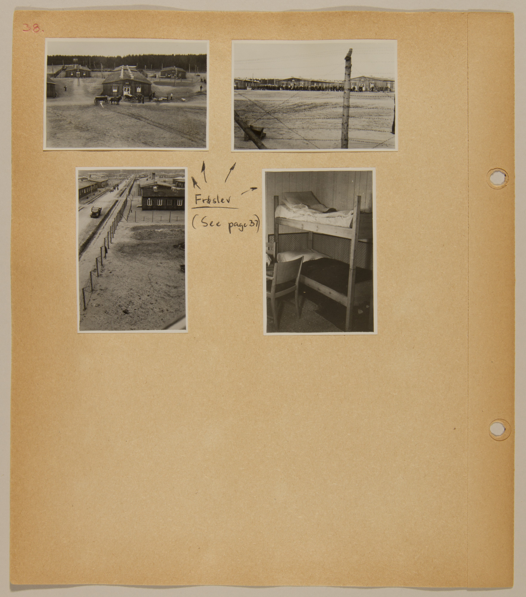 Page from volume five of a set of scrapbooks compiled by Bjorn Sibbern, a Danish policeman and resistance member, documenting the German occupation of Denmark.  This page contains photographs of the release of political prisoners from a camp in Froslev, Southern Jutland.