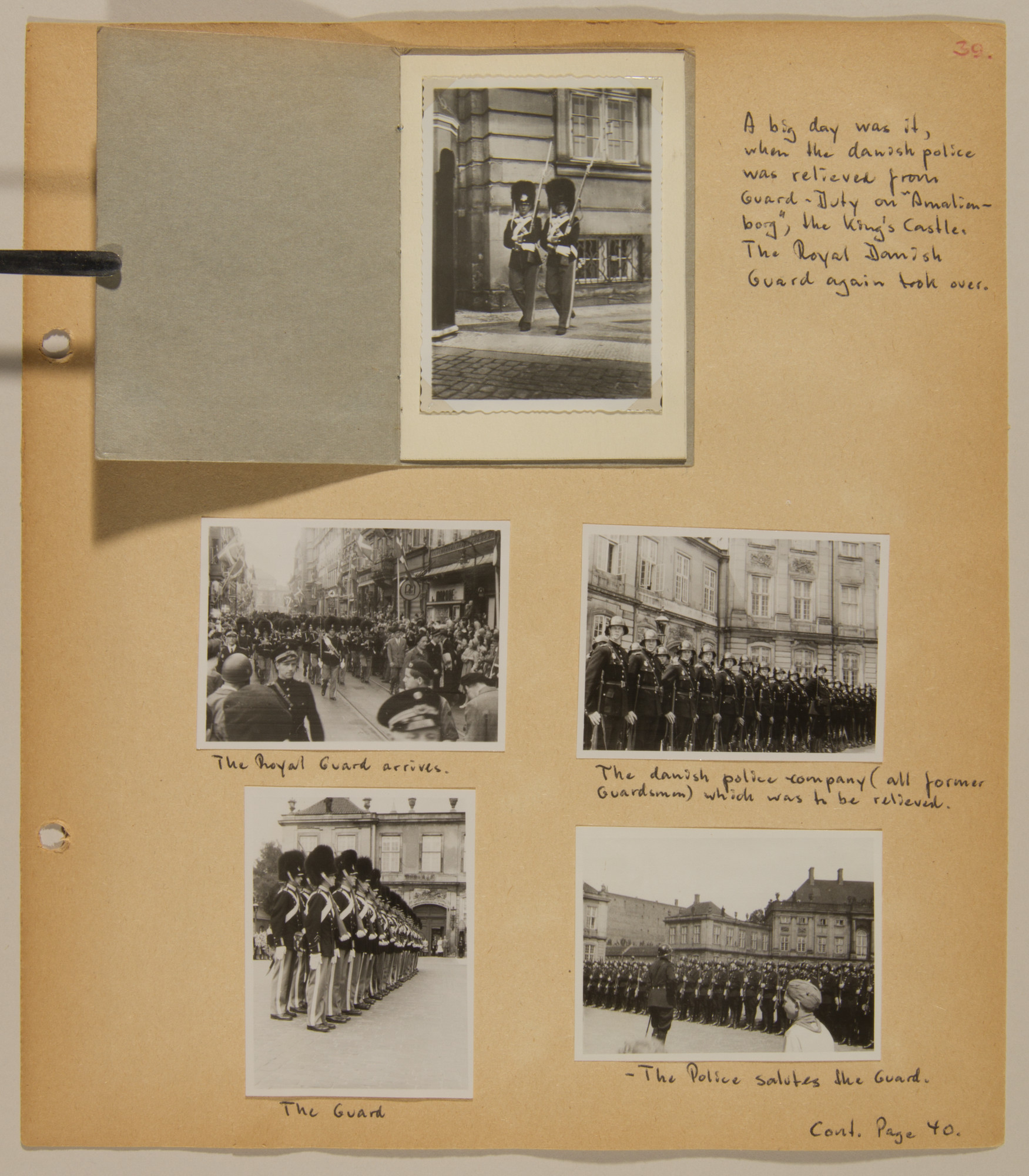 Page from volume five of a set of scrapbooks compiled by Bjorn Sibbern, a Danish policeman and resistance member, documenting the German occupation of Denmark.  The last page of the scrapbooks contain photographs of the return of the Royal Guard to the King's Castle.