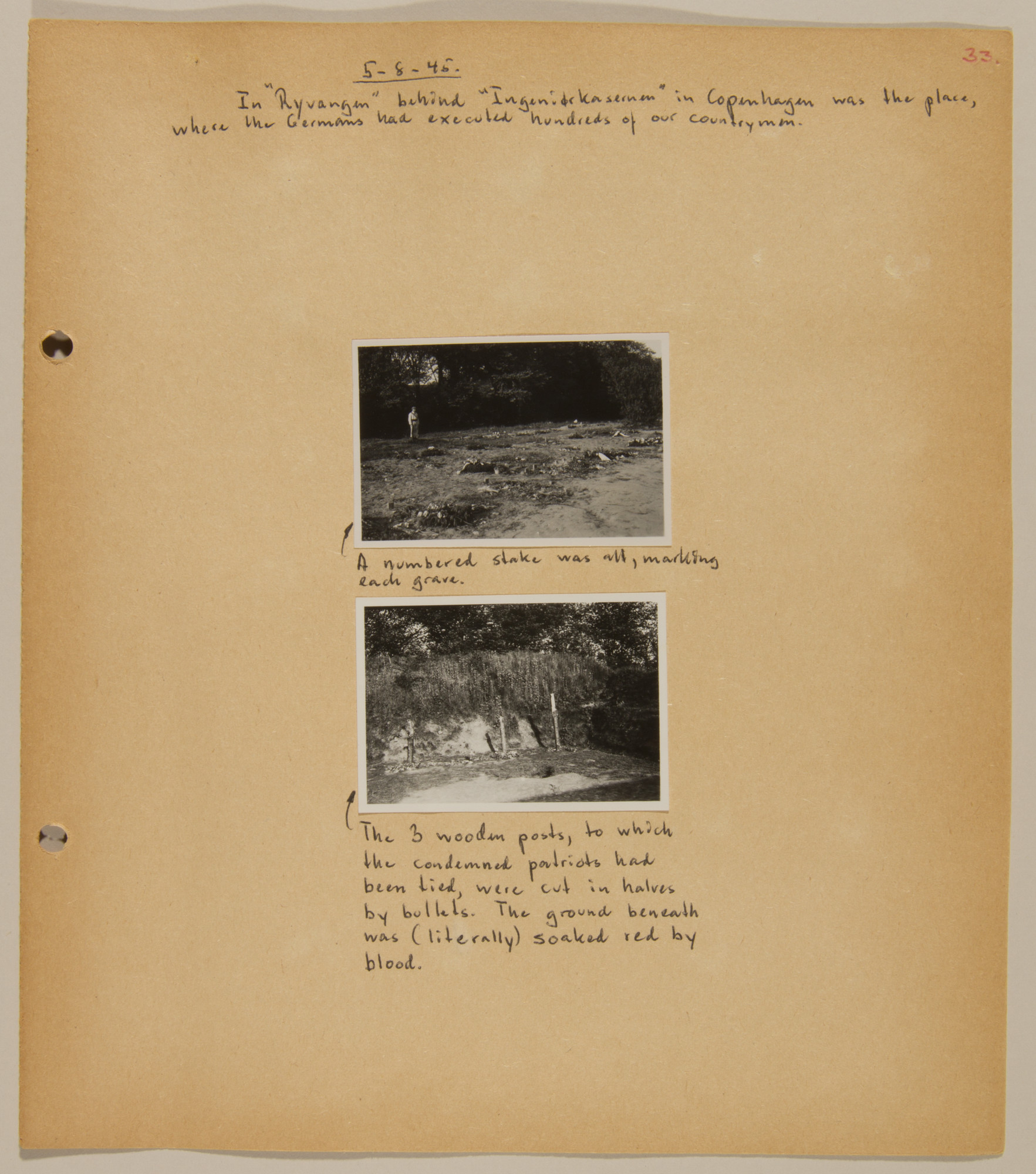 Page from volume five of a set of scrapbooks compiled by Bjorn Sibbern, a Danish policeman and resistance member, documenting the German occupation of Denmark.  This page contains two photographs of the site of German executions during the war.