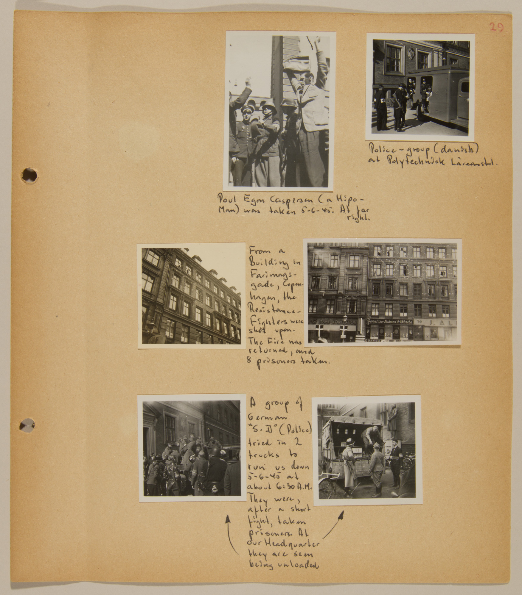 Page from volume five of a set of scrapbooks compiled by Bjorn Sibbern, a Danish policeman and resistance member, documenting the German occupation of Denmark.  This page contains photographs of street fighting during the last days of the war and the surrender of Danish Nazis and German soldiers.