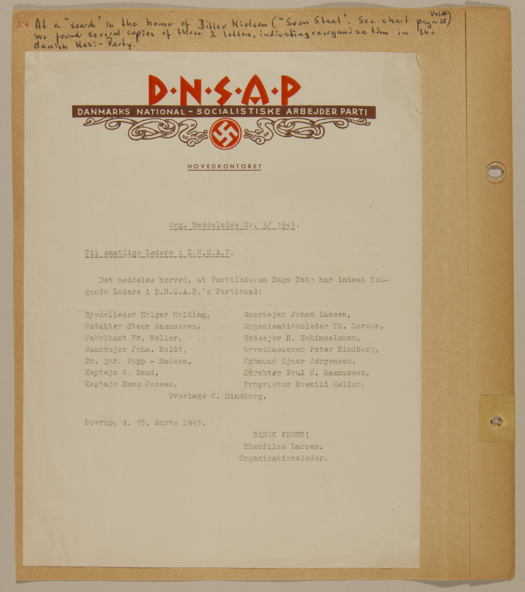 Page from volume five of a set of scrapbooks compiled by Bjorn Sibbern, a Danish policeman and resistance member, documenting the German occupation of Denmark.  This page contains a document of the leadership of the Danish Nazi party.