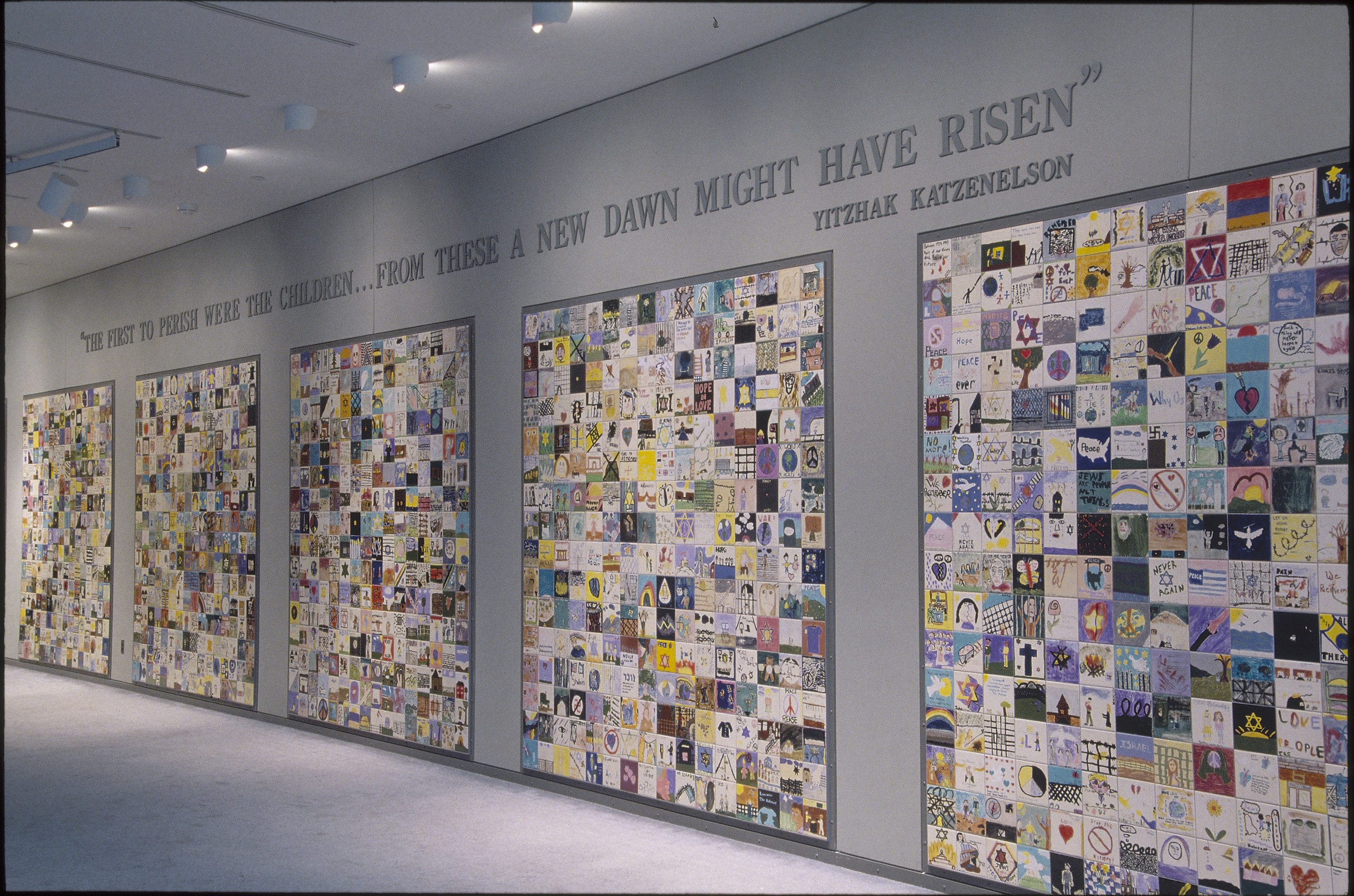 View of the Tile Wall located on the concourse level of the U.S. Holocaust Memorial Museum.