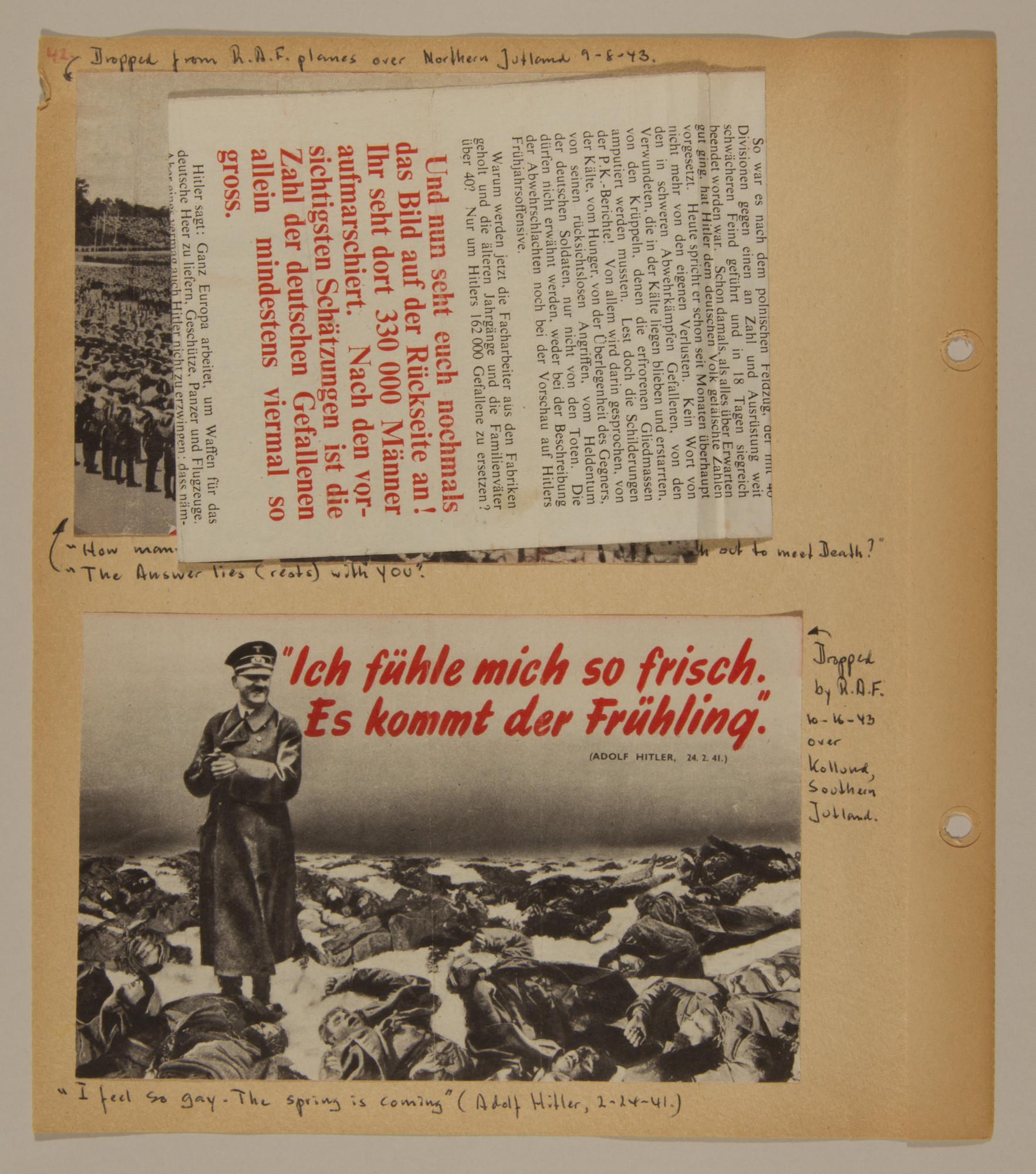 Page from volume two of a set of scrapbooks compiled by Bjorn Sibbern, a Danish policeman and resistance member, documenting the German occupation of Denmark.  This page contains anti-Nazi handbills air-dropped over Denmark.