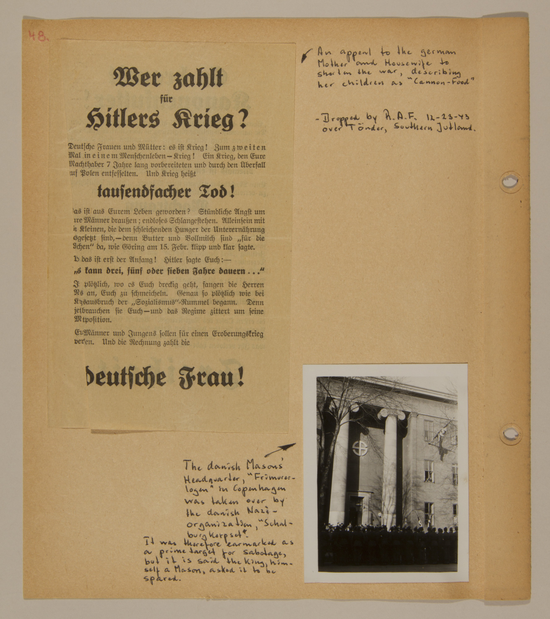 Page from volume two of a set of scrapbooks compiled by Bjorn Sibbern, a Danish policeman and resistance member, documenting the German occupation of Denmark.  This page contains an RAF flyer dropped over Copenhagen and a photograph of the Danish Nazi headquarters in the former Mason's Headquarters.