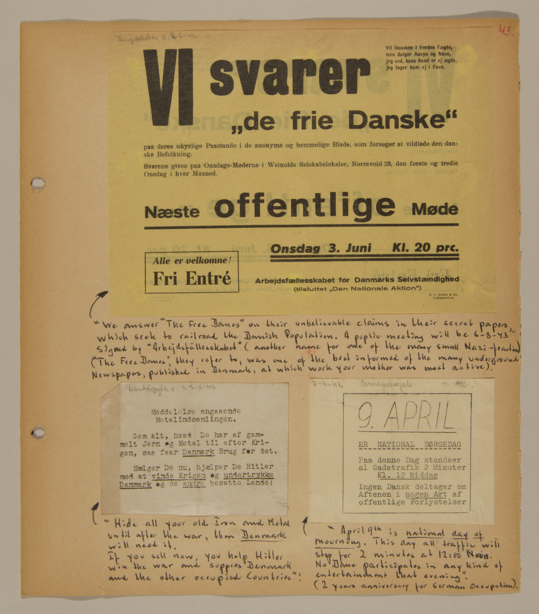 Page from volume two of a set of scrapbooks compiled by Bjorn Sibbern, a Danish policeman and resistance member, documenting the German occupation of Denmark.  This page contains both anti-Nazi and pro-Nazi handbills.
