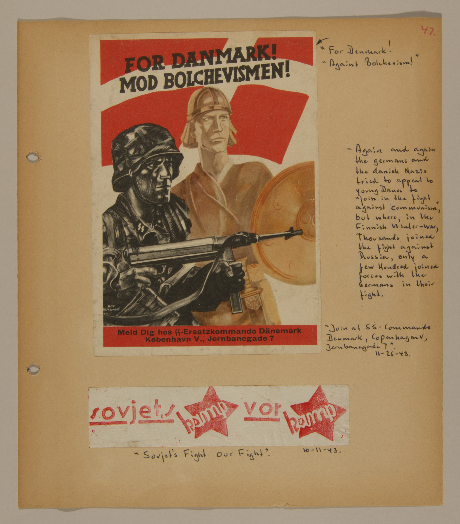 Page from volume two of a set of scrapbooks compiled by Bjorn Sibbern, a Danish policeman and resistance member, documenting the German occupation of Denmark.  This page contains an SS recruitment poster and a Communist flyer.