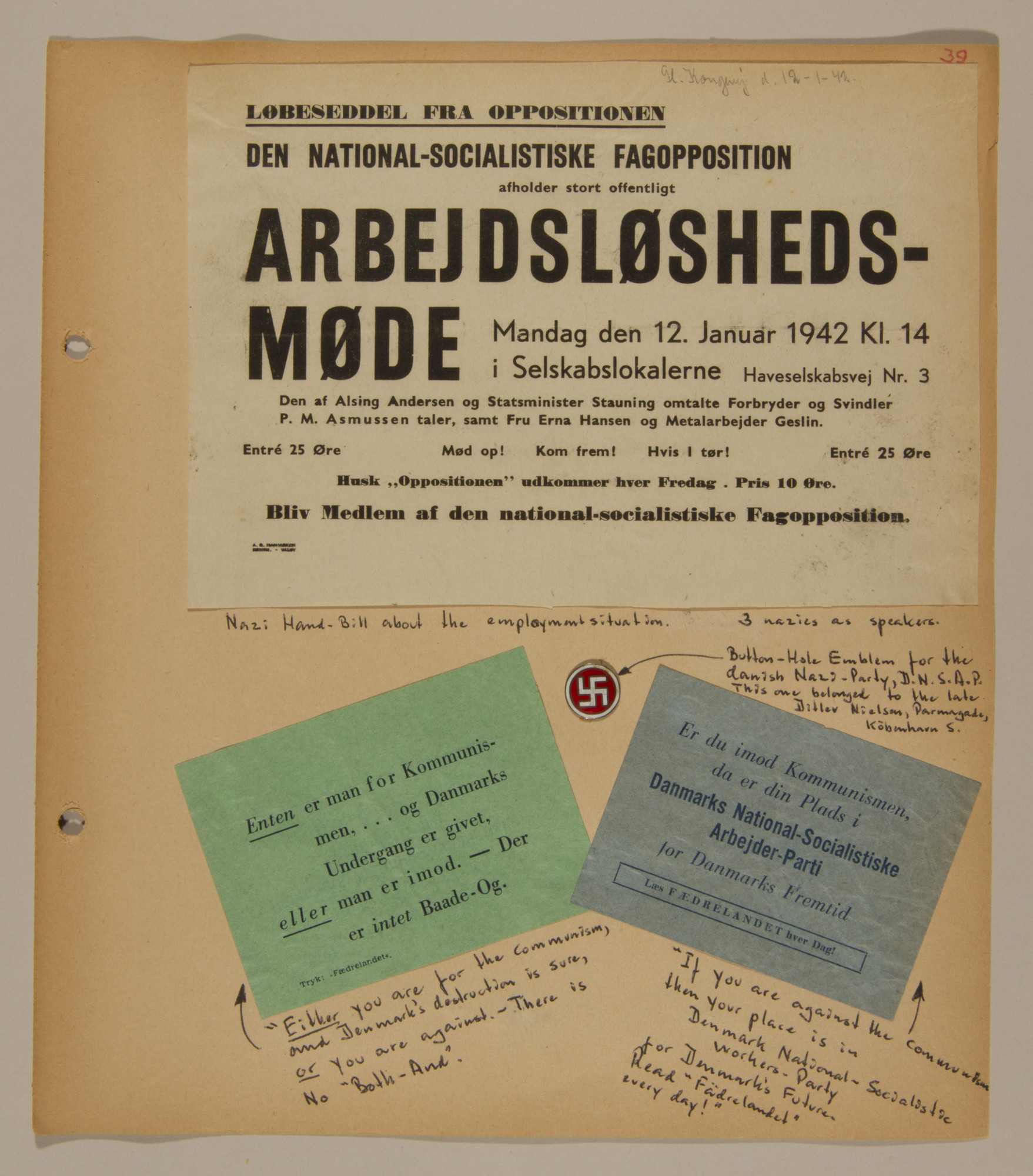 Page from volume two of a set of scrapbooks compiled by Bjorn Sibbern, a Danish policeman and resistance member, documenting the German occupation of Denmark.  This page contains handbills of the Danish Nazi party.