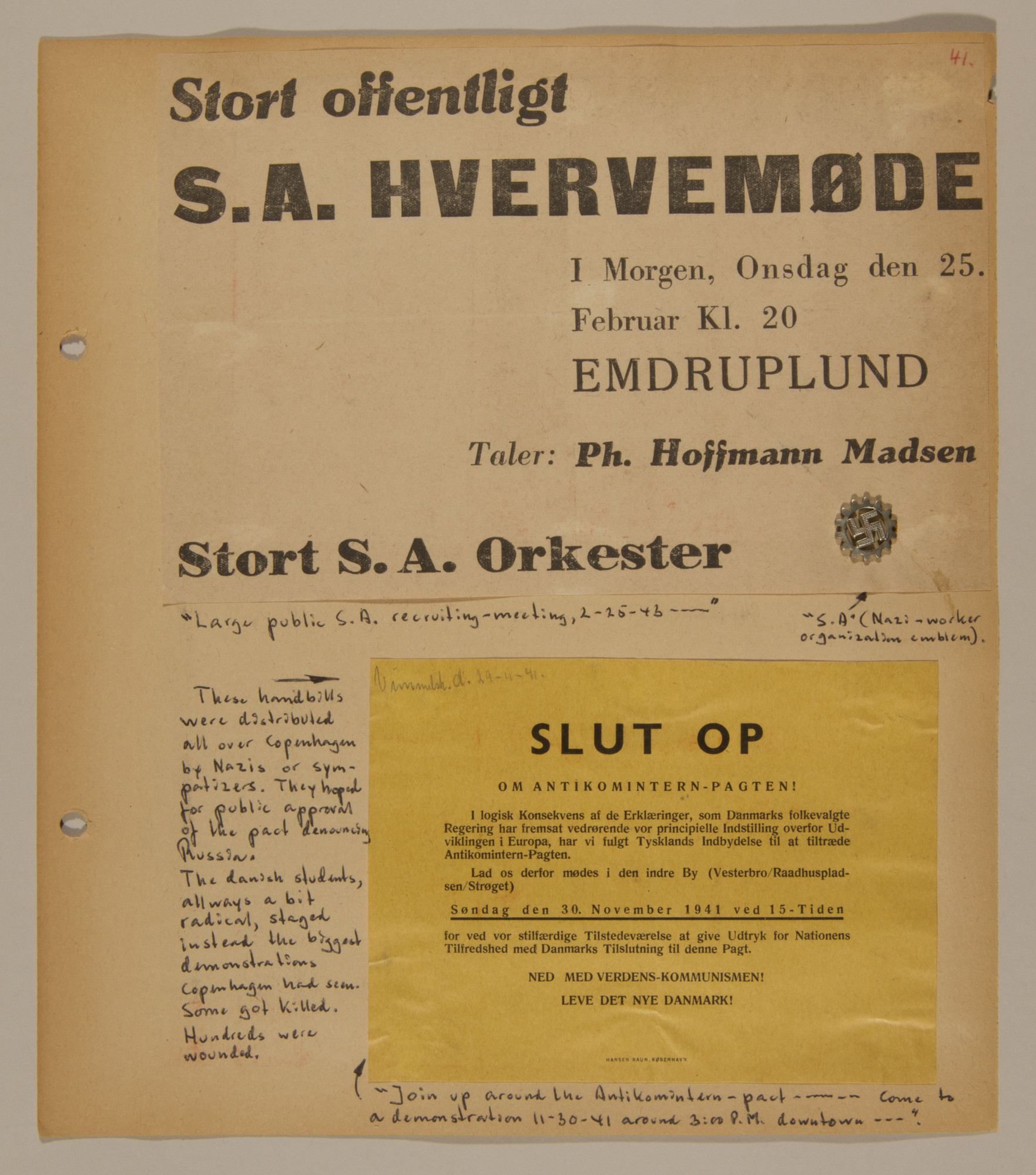 Page from volume two of a set of scrapbooks compiled by Bjorn Sibbern, a Danish policeman and resistance member, documenting the German occupation of Denmark.  This page contains pro-Nazi handbills.