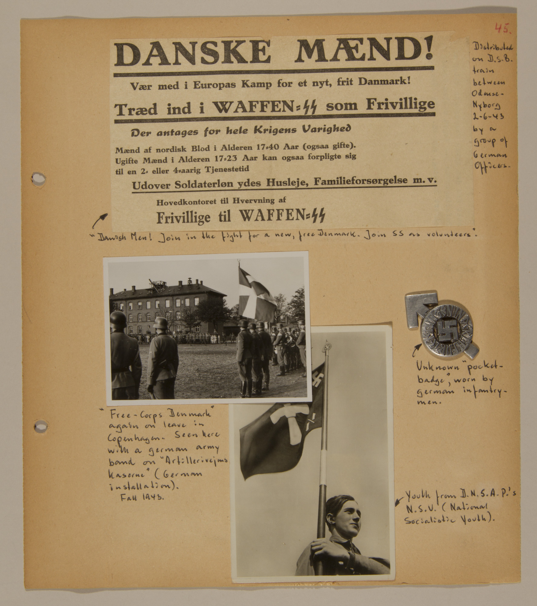 Page from volume two of a set of scrapbooks compiled by Bjorn Sibbern, a Danish policeman and resistance member, documenting the German occupation of Denmark.  This page contains a handbill, photographs and a pin of the Danish Nazi party.