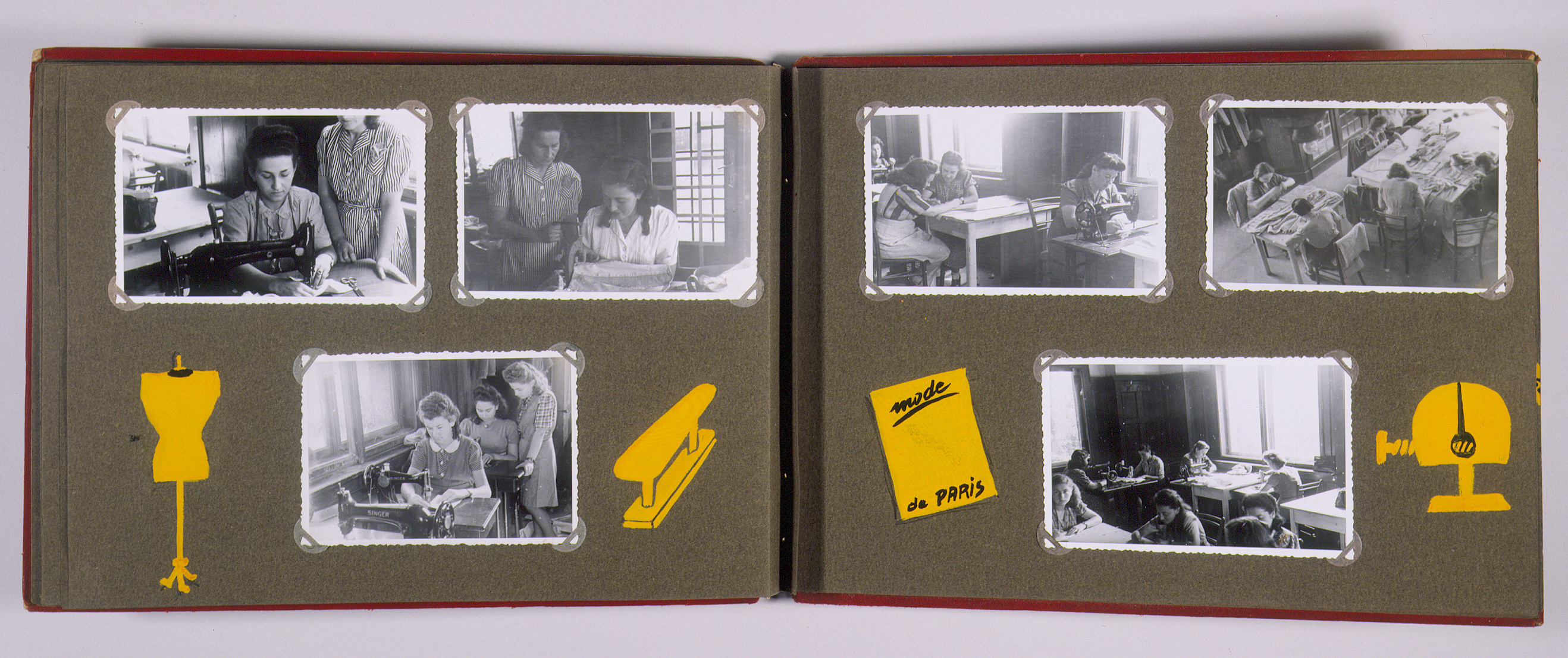 """Family album that belonged to Moritz Friedler, bearing the title """"Motoring/Jewish DP camp/St. Marein [Sankt Marien]/School.""""   In 1946 and 1947, Moritz Friedler served as a social worker with the Jewish Committee for Relief Abroad at the Sankt Marien DP camp in the British zone of Austria. Friedler subsequently became the JDC's Area Director in Linz, Austria.  The photo album documents Jewish DP life in both places."""