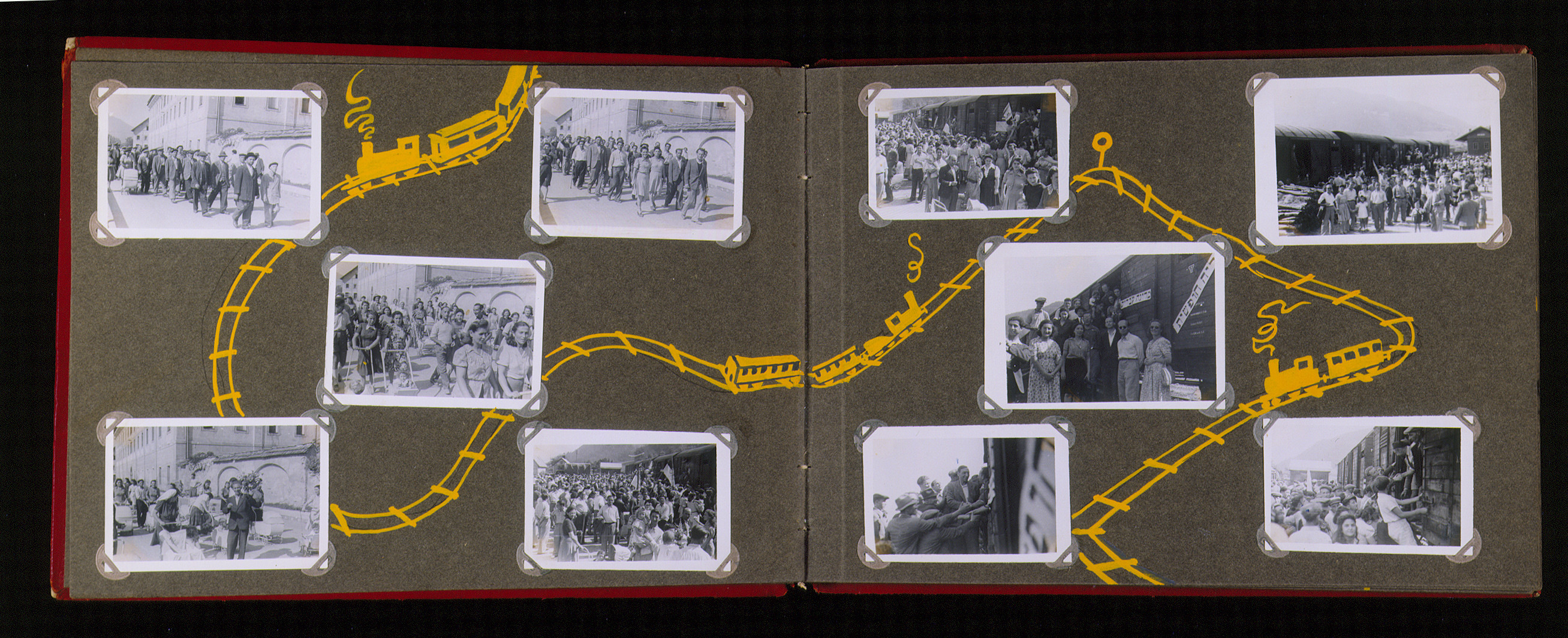 "Family album that belonged to Moritz Friedler, bearing the title ""Motoring/Jewish DP camp/St. Marein [Sankt Marien]/School.""   In 1946 and 1947, Moritz Friedler served as a social worker with the Jewish Committee for Relief Abroad at the Sankt Marien DP camp in the British zone of Austria. Friedler subsequently became the JDC's Area Director in Linz, Austria.  The photo album documents Jewish DP life in both places."