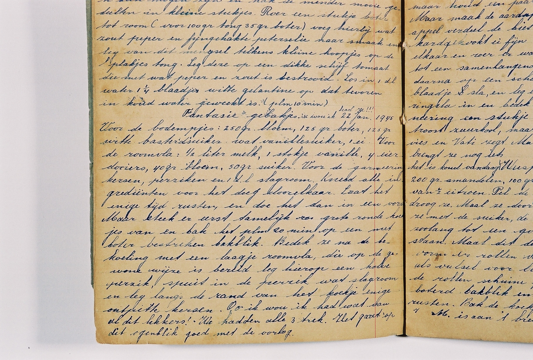 A detail of a page from a diary written by Susie Grunbaum Schwarz while in hiding.  She disguised the diary in the form of a cookbook written in several languages.