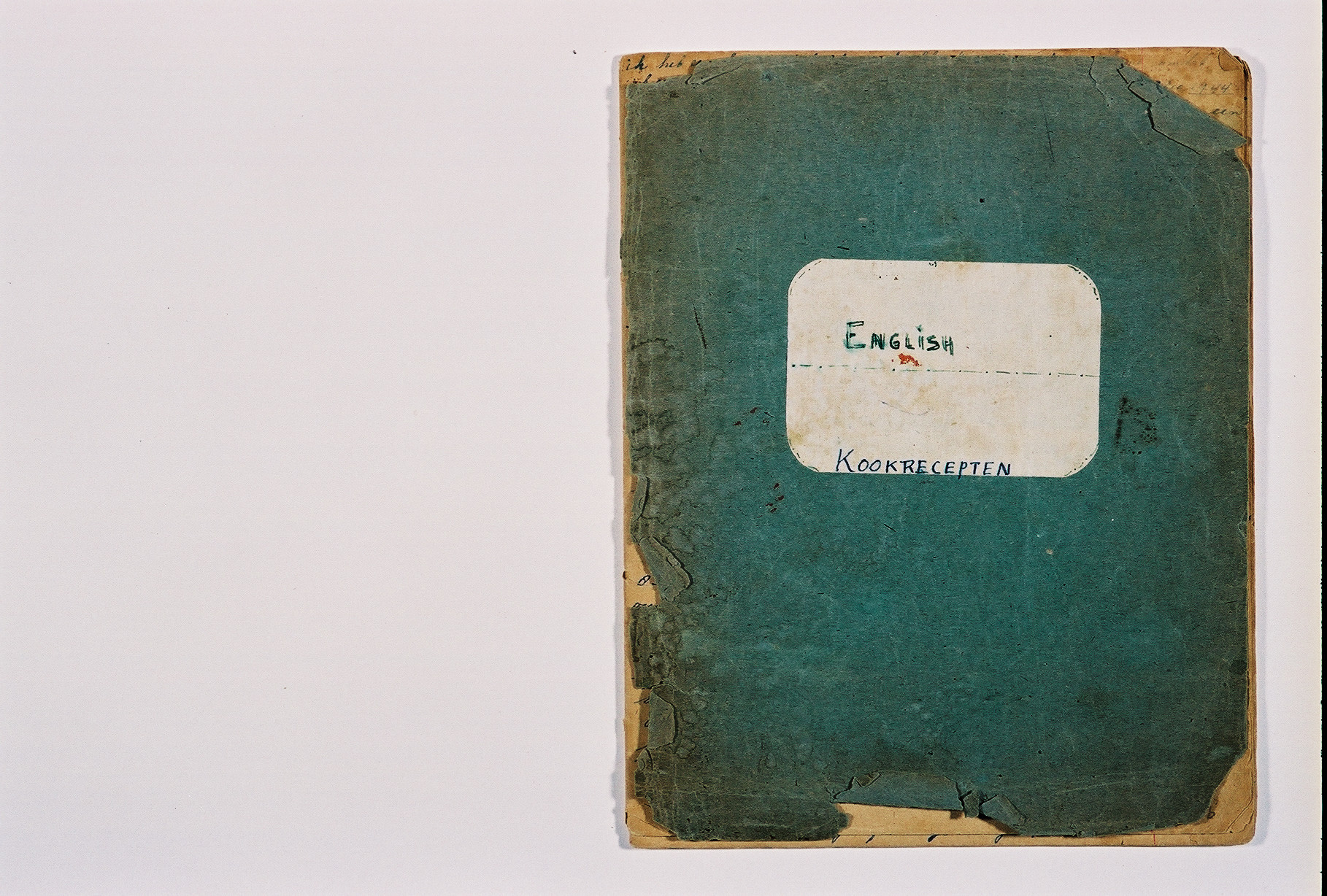 The cover of a diary written by Susie Grunbaum Schwarz while in hiding.  She disguised the diary in the form of a cookbook written in several languages.