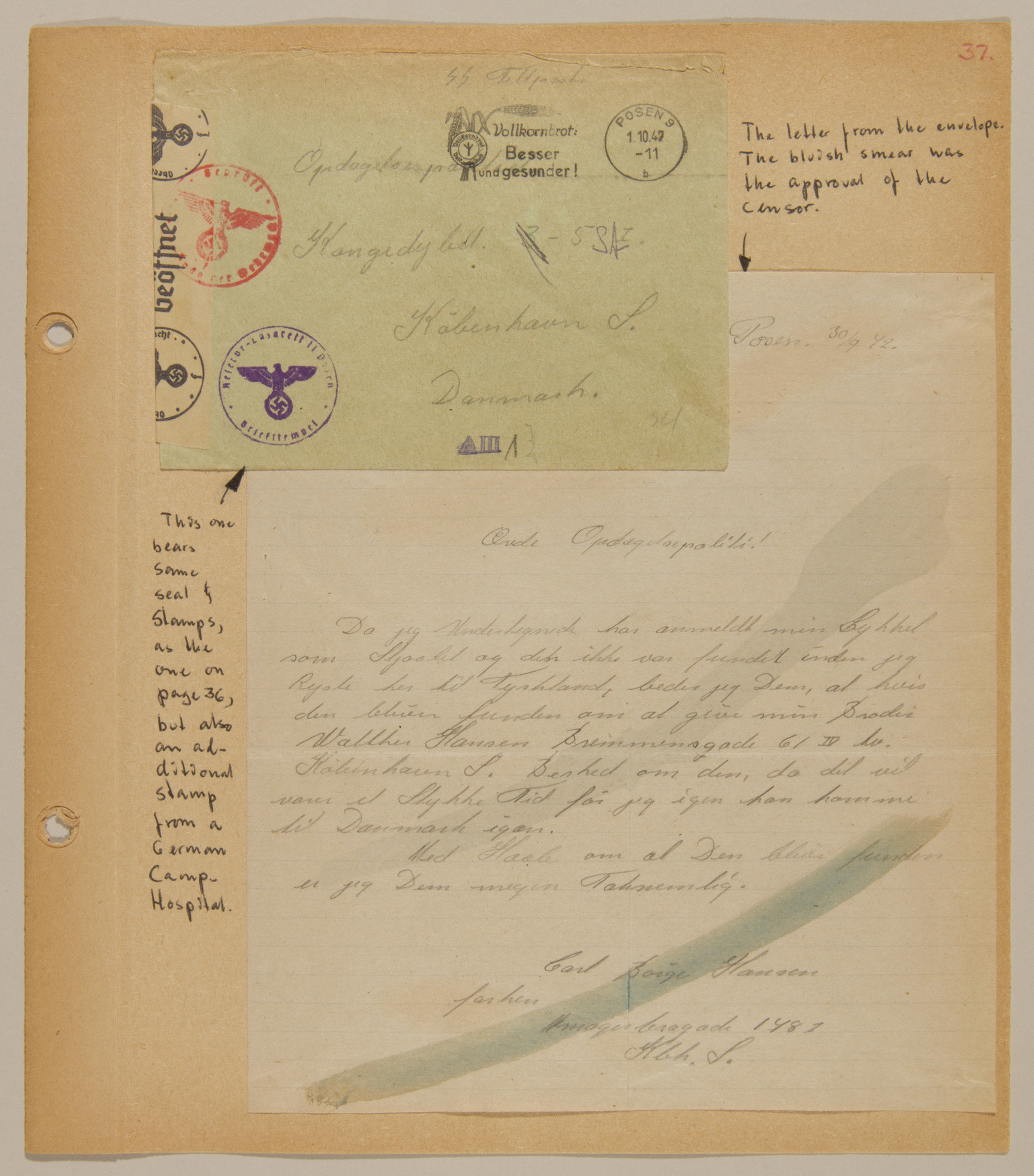 Page from volume four of a set of scrapbooks compiled by Bjorn Sibbern, a Danish policeman and resistance member, documenting the German occupation of Denmark.  This page contains a letter that was opened by German censors and resealed.
