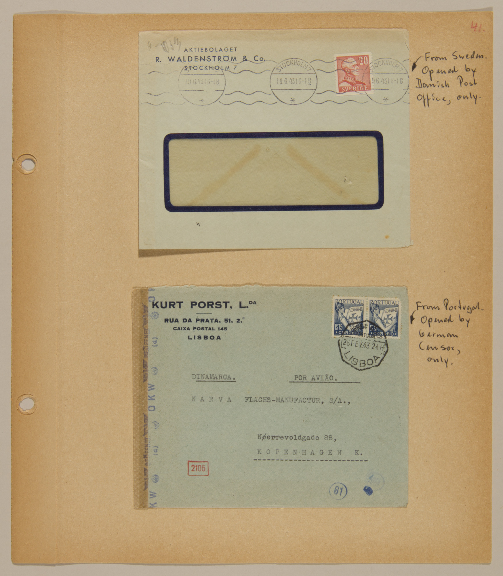 Page from volume four of a set of scrapbooks compiled by Bjorn Sibbern, a Danish policeman and resistance member, documenting the German occupation of Denmark.  This page contains two letters that were opened by German censors and resealed.