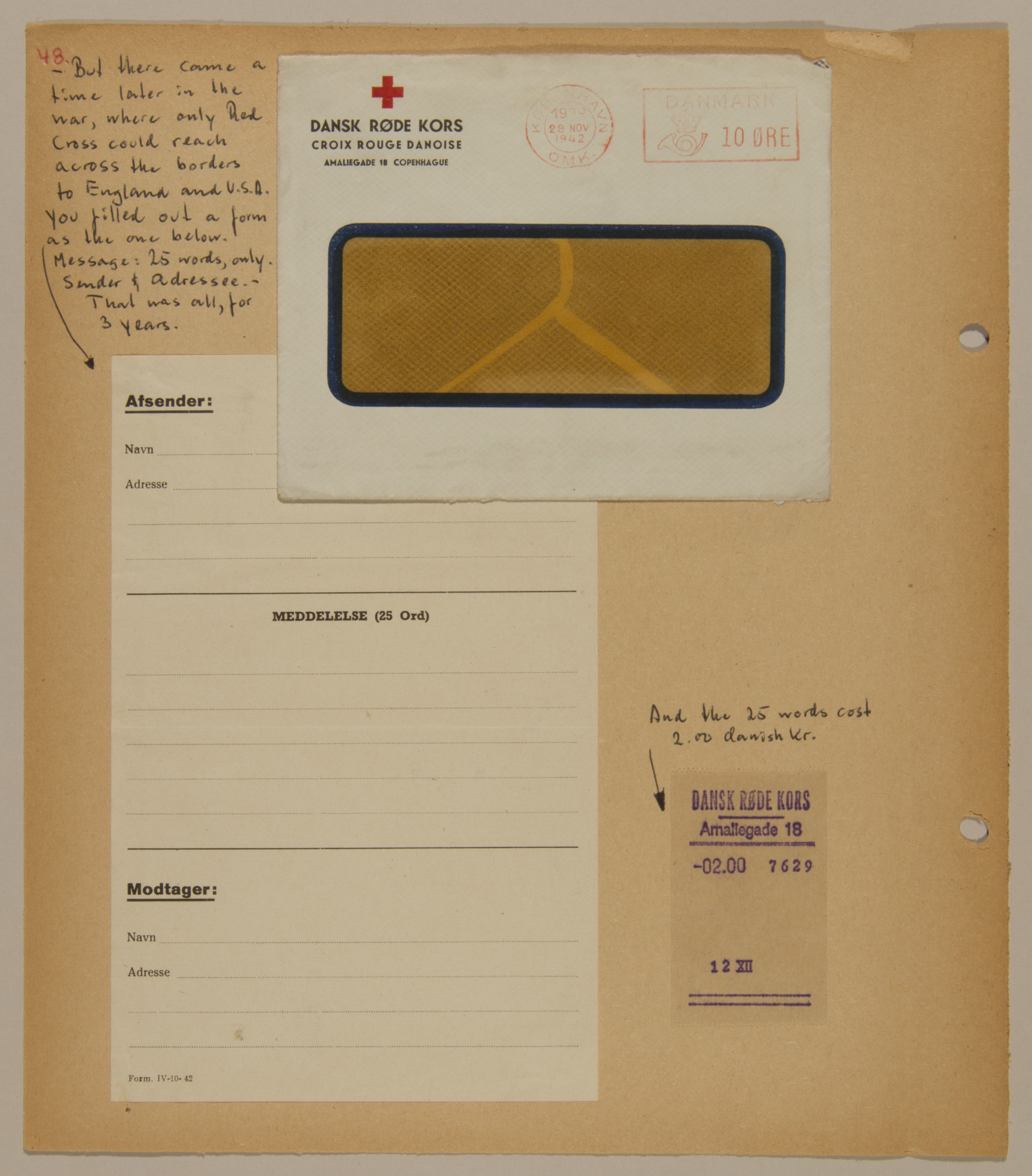 Page from volume four of a set of scrapbooks compiled by Bjorn Sibbern, a Danish policeman and resistance member, documenting the German occupation of Denmark.  This page contains a blank Red Cross letter.