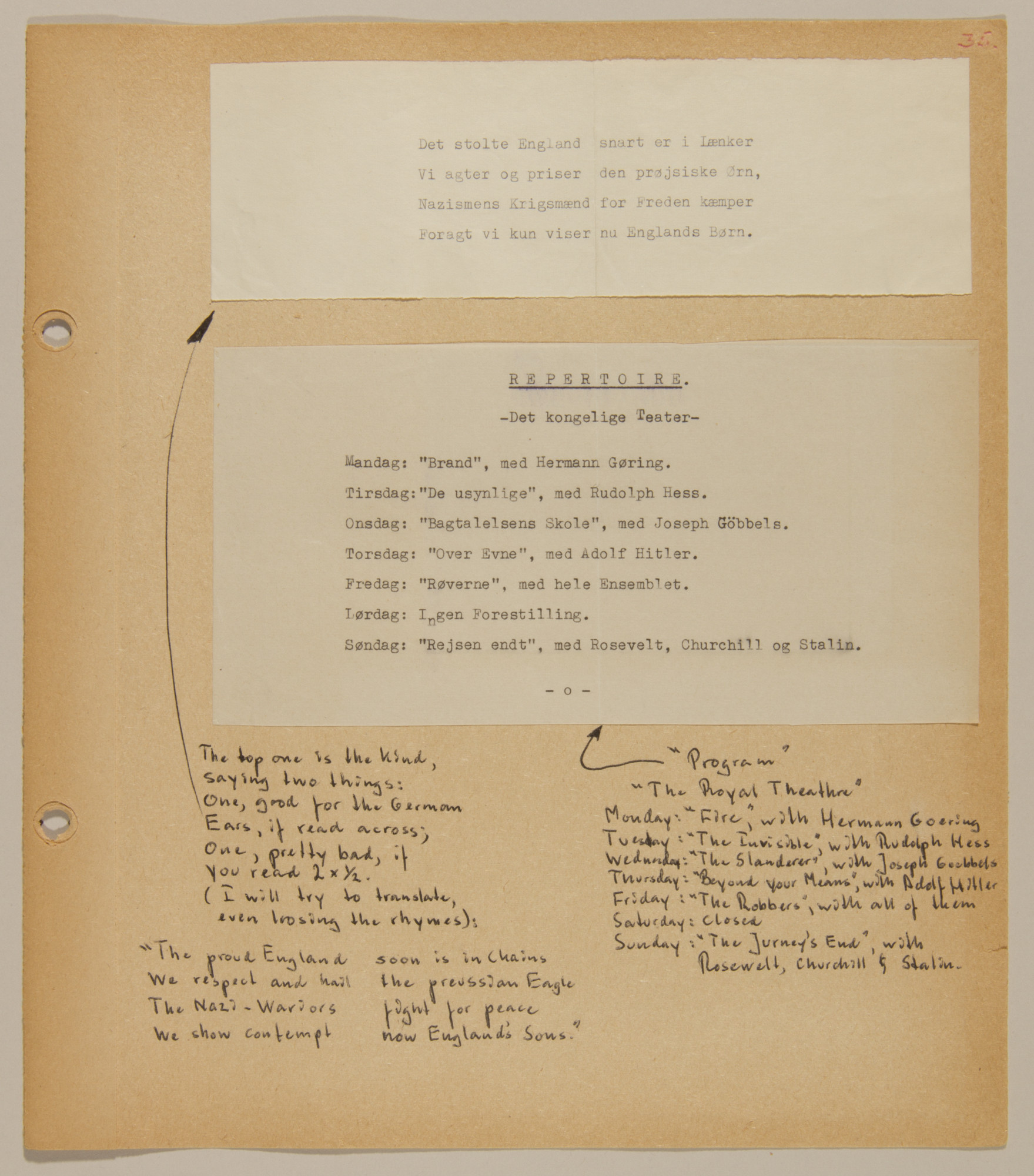 Page from volume four of a set of scrapbooks compiled by Bjorn Sibbern, a Danish policeman and resistance member, documenting the German occupation of Denmark.  This page contains two satiric flyers of the underground.