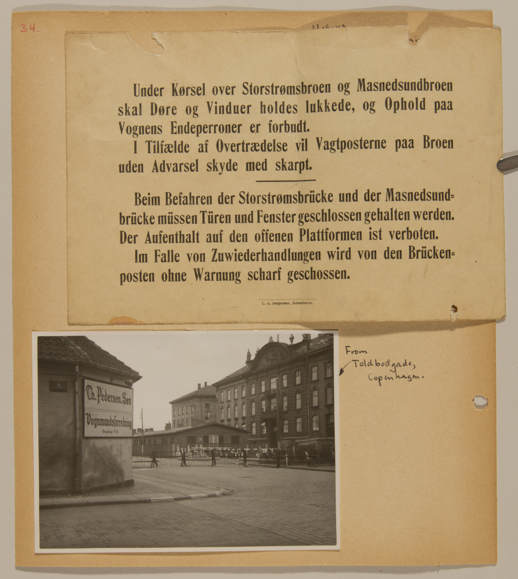 Page from volume four of a set of scrapbooks compiled by Bjorn Sibbern, a Danish policeman and resistance member, documenting the German occupation of Denmark.  This page contains a warning not to leave the train at two places, and that sentries will shoot without warning.