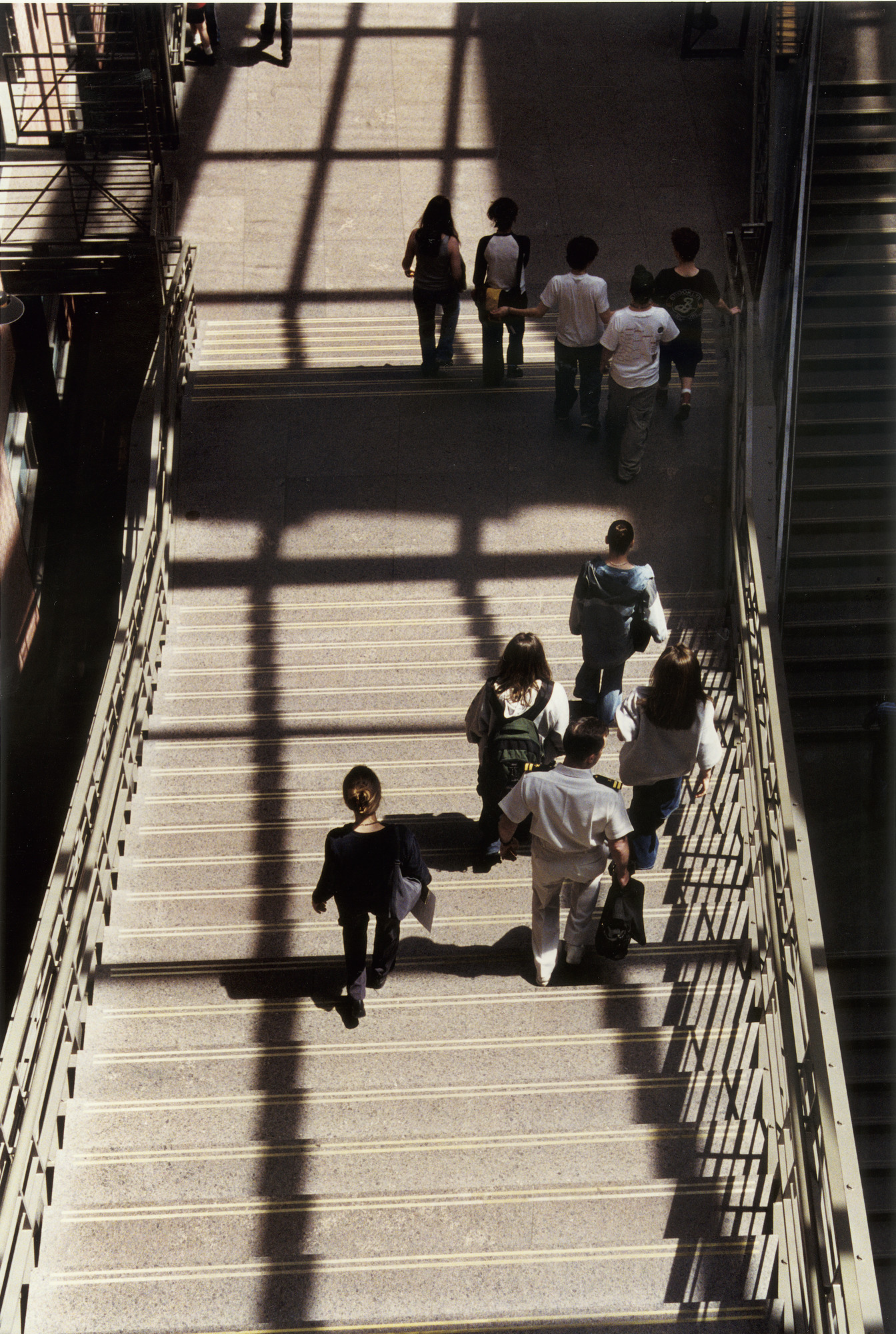 Visitors on the grand staircase in the Hall of Witness at the U.S. Holocaust Memorial Museum.