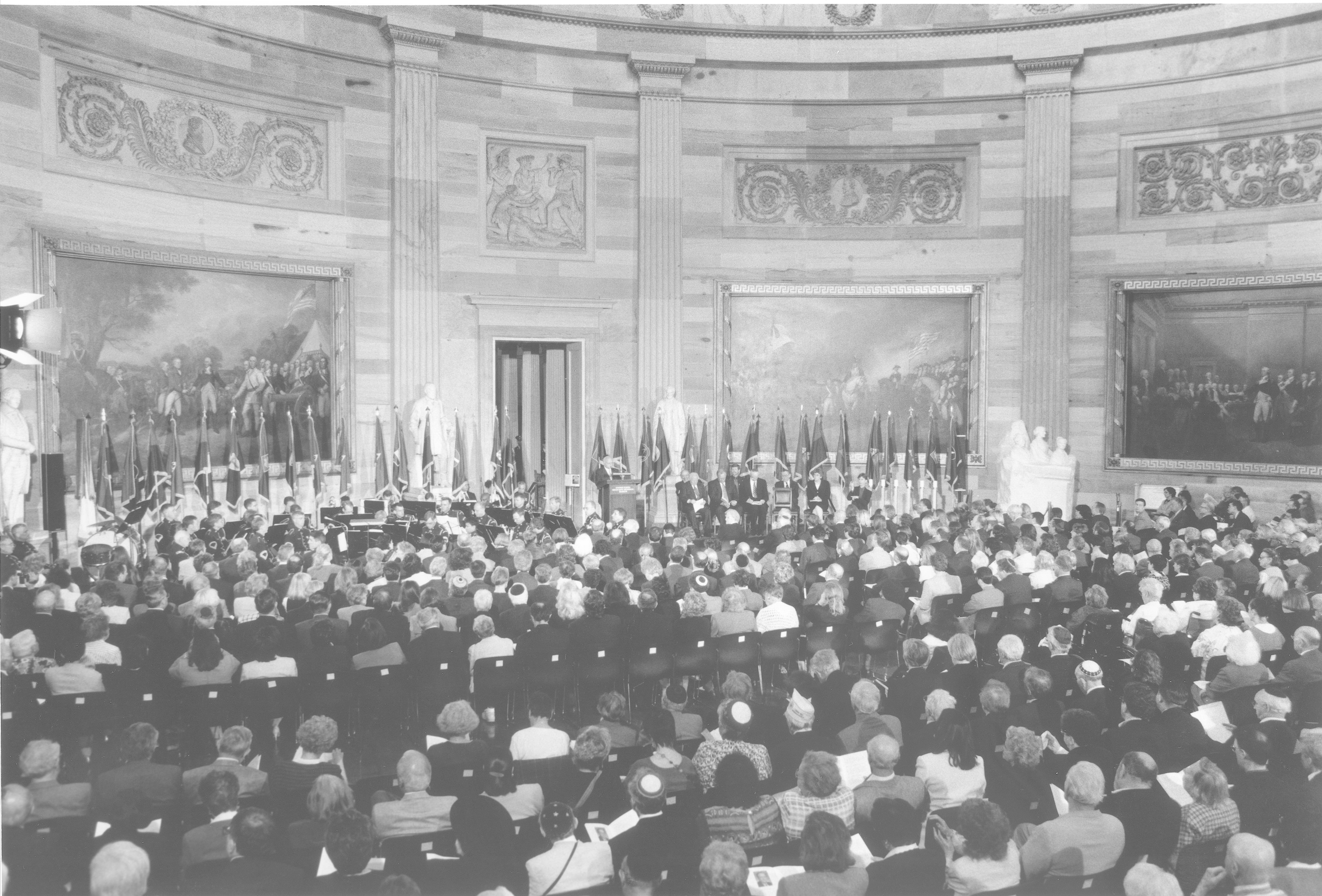 """A large crowd attends the 2000 Days of Remembrance ceremony in the capitol rotunda.   The theme of this year's commemoration was """"The Holocaust and the New Century: The Imperative to Remember.""""  Swedish Prime Minister Göran Persson delivered the keynote address, and Nobel laureate Elie Wiesel and U.S. Secretary of the Treasury Stuart E. Eizenstat were recognized for their extraordinary contributions."""