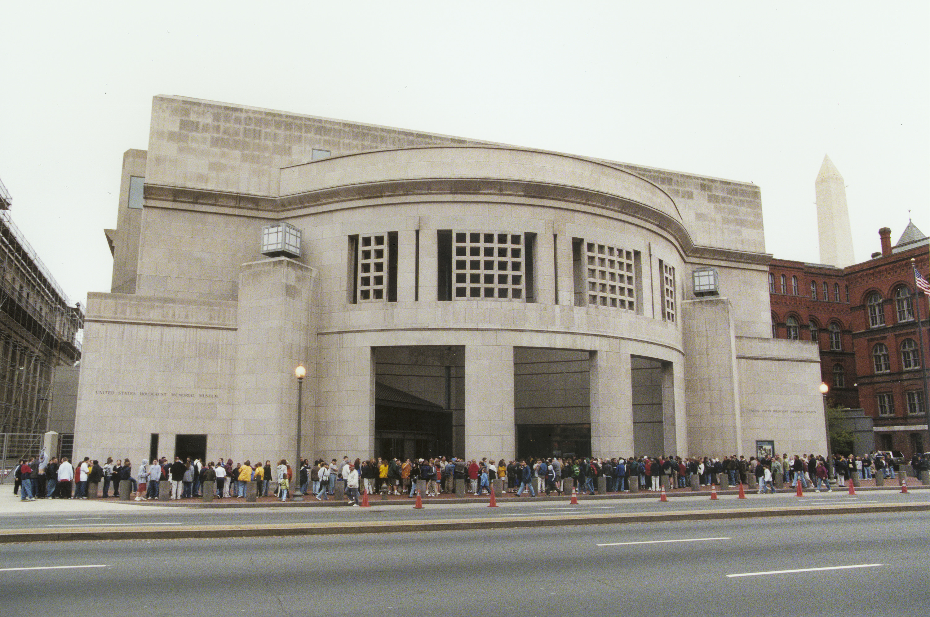 Visitors line up in front of the 14th Street entrance to the U.S. Holocaust Memorial Museum.