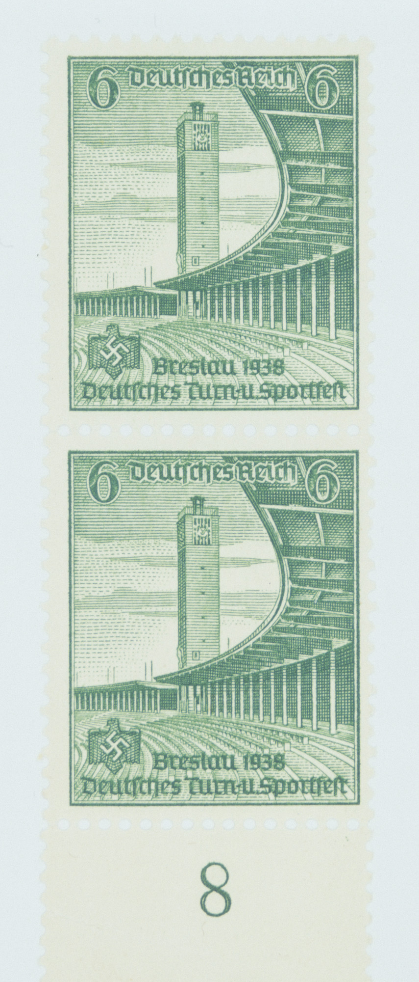 Third Reich stamps commemorating the 1938 Sports Festival in Breslau.