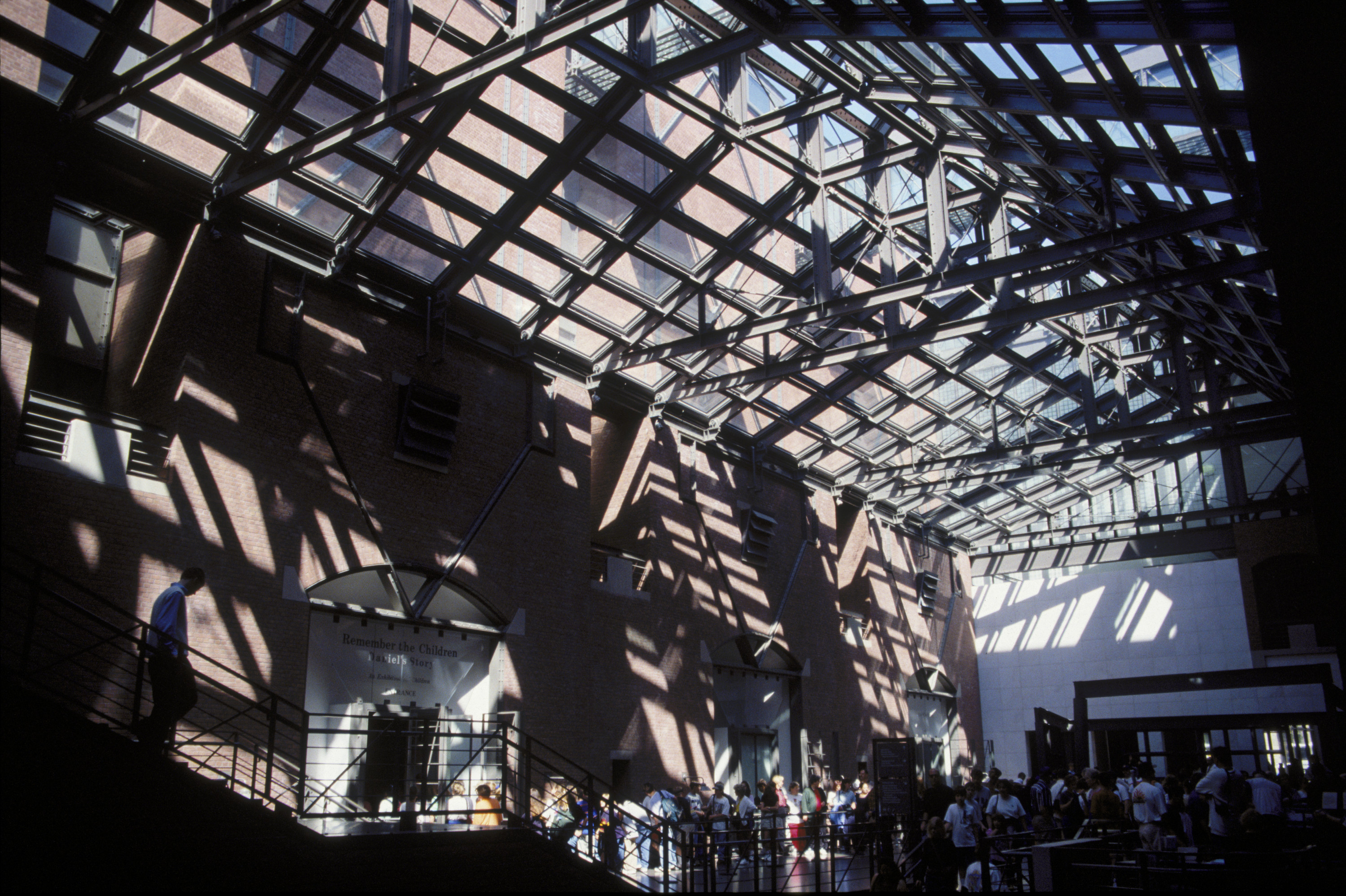 View of the skylights above the Hall of Witness at the U.S. Holocaust Memorial Museum.