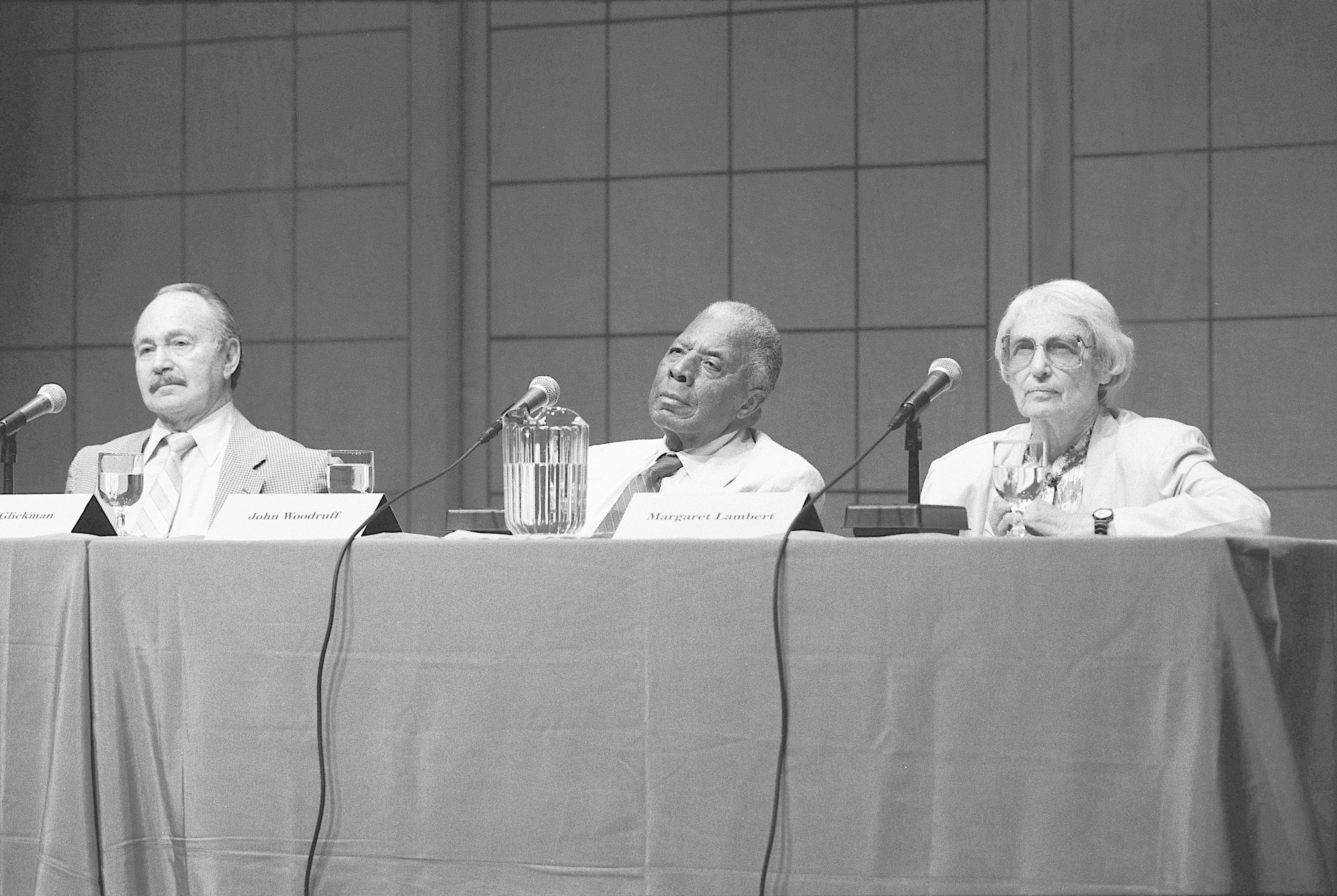 Panel Discussion; 'Athletes Remembered'; 1936 Olympics --   Marty Glickman, John Woodruff and Margaret Lambert