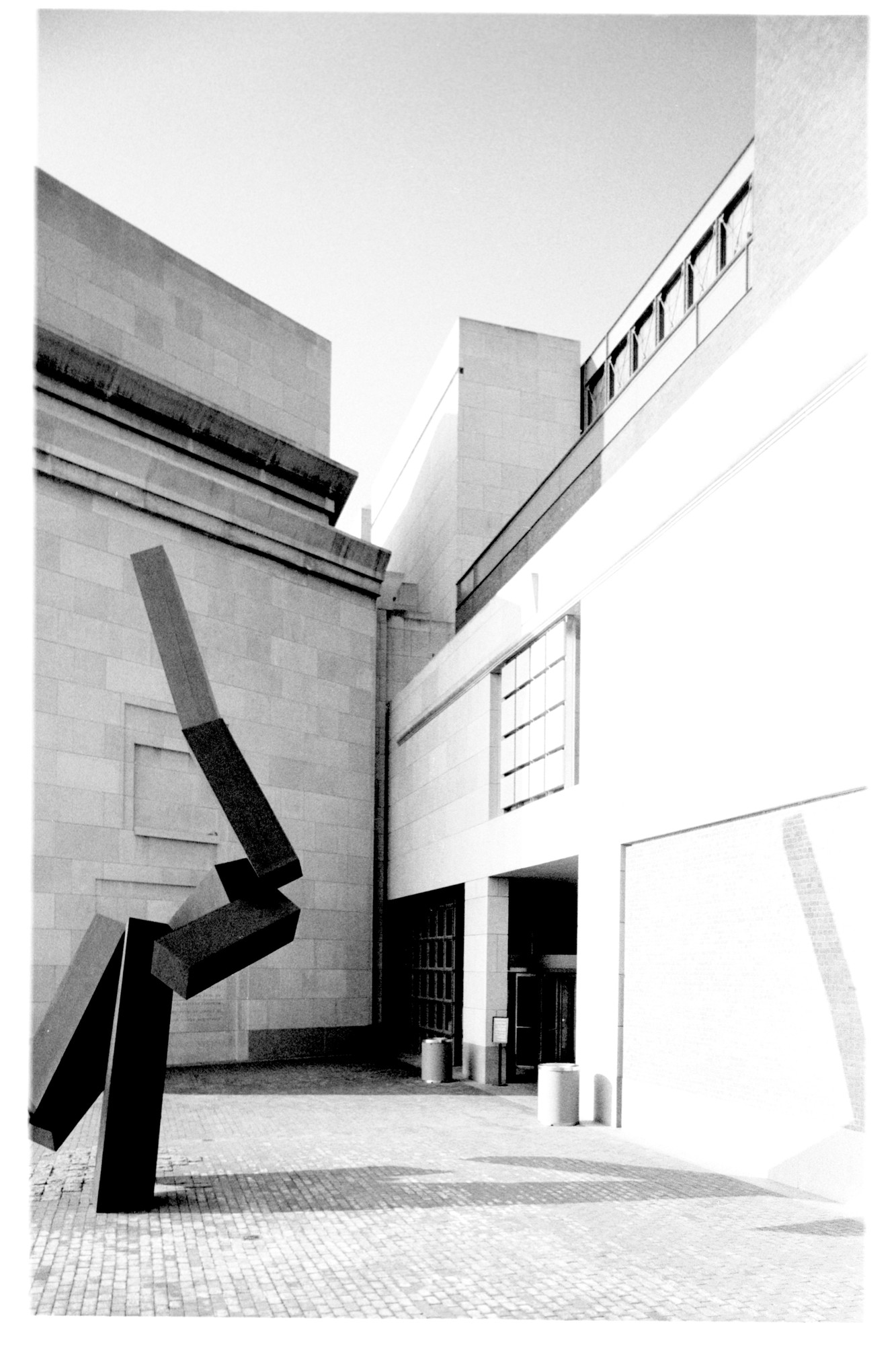 "Sculpture by Joel Shapiro entitled ""Loss and Regeneration,"" situated on the Eisenhower Plaza of the U.S. Holocaust Memorial Museum."