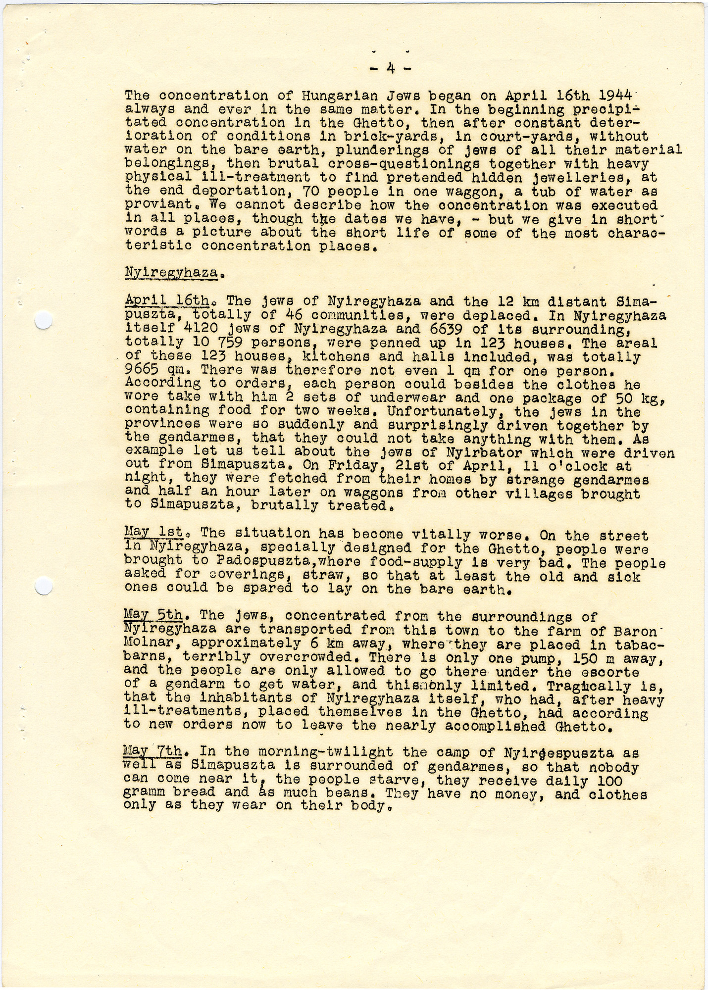 Letter describing the situation of the Jews in Hungary written by Miklos Kraus and appended to an abridged copy fo the Auschwitz Protocol.  The document was translated into English by students hired by George Mandel-Mantello.