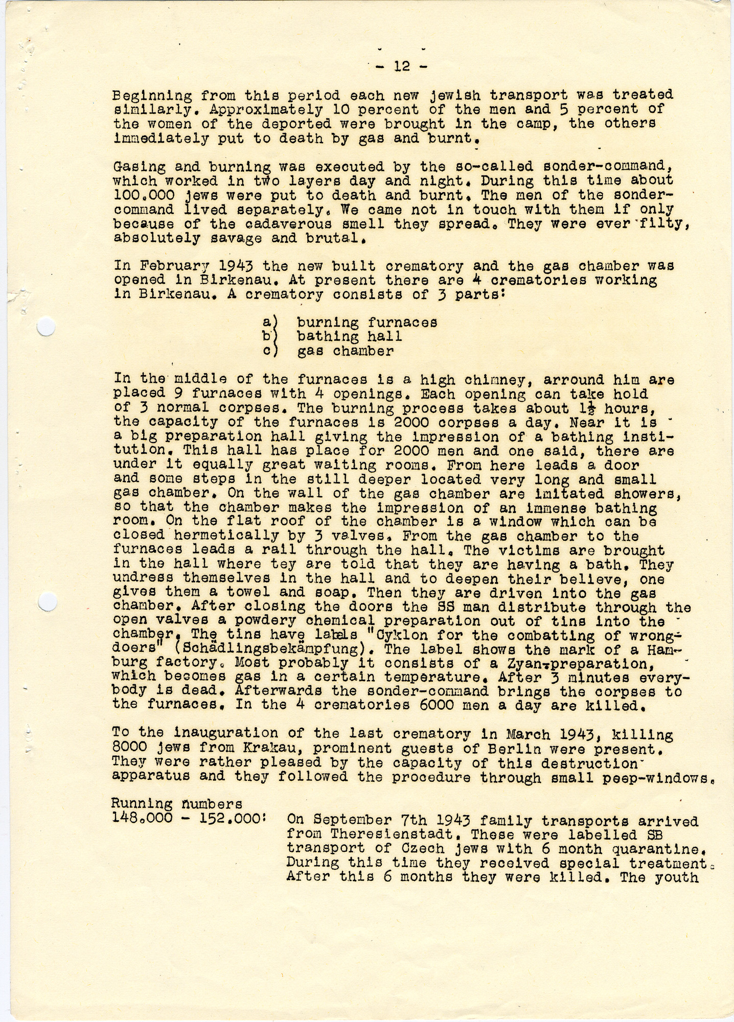 Abridged version of the Auschwitz Protocol sent .by Miklos Kraus in Budapest to George Mantello in Switzerland.  The document was translated into English by students hired by George Mandel-Mantello.