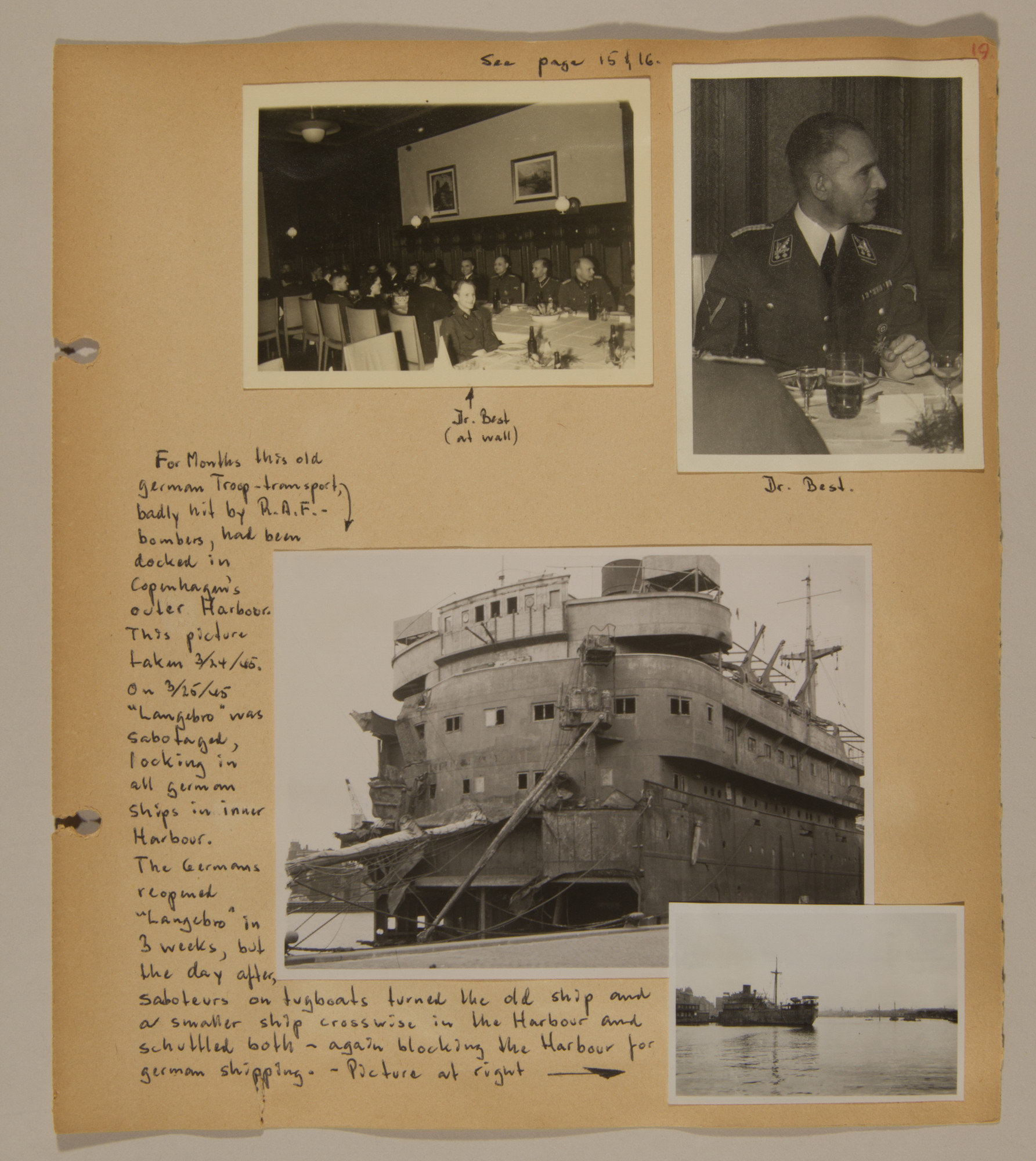 Page from volume three of a set of scrapbooks compiled by Bjorn Sibbern, a Danish policeman and resistance member, documenting the German occupation of Denmark.  This page contains photographs of Walter Best, the German civil administrator in Denmark, as well as photos of a damaged German troop transport, taken by Bjorn Sibbern while using a forged press card with a false identity.