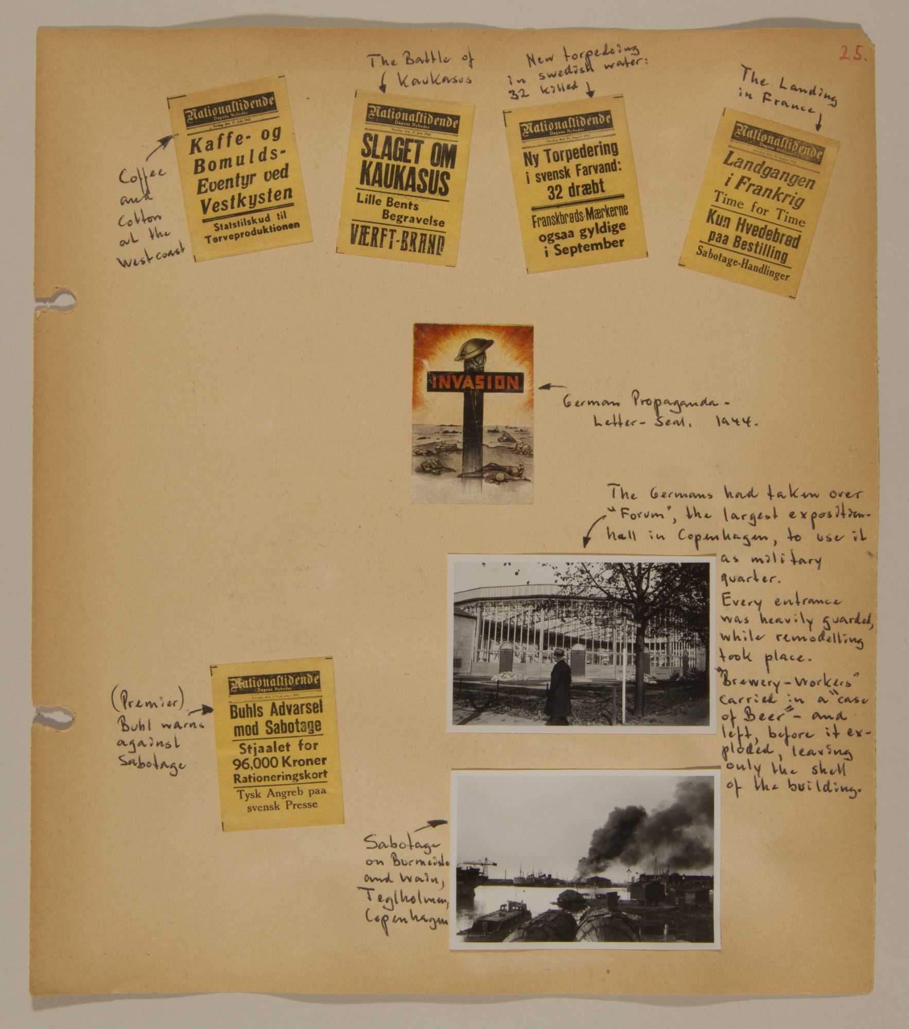 Page from volume three of a set of scrapbooks compiled by Bjorn Sibbern, a Danish policeman and resistance member, documenting the German occupation of Denmark.  This page contains newspaper headlines as well as a photos of sabotage.