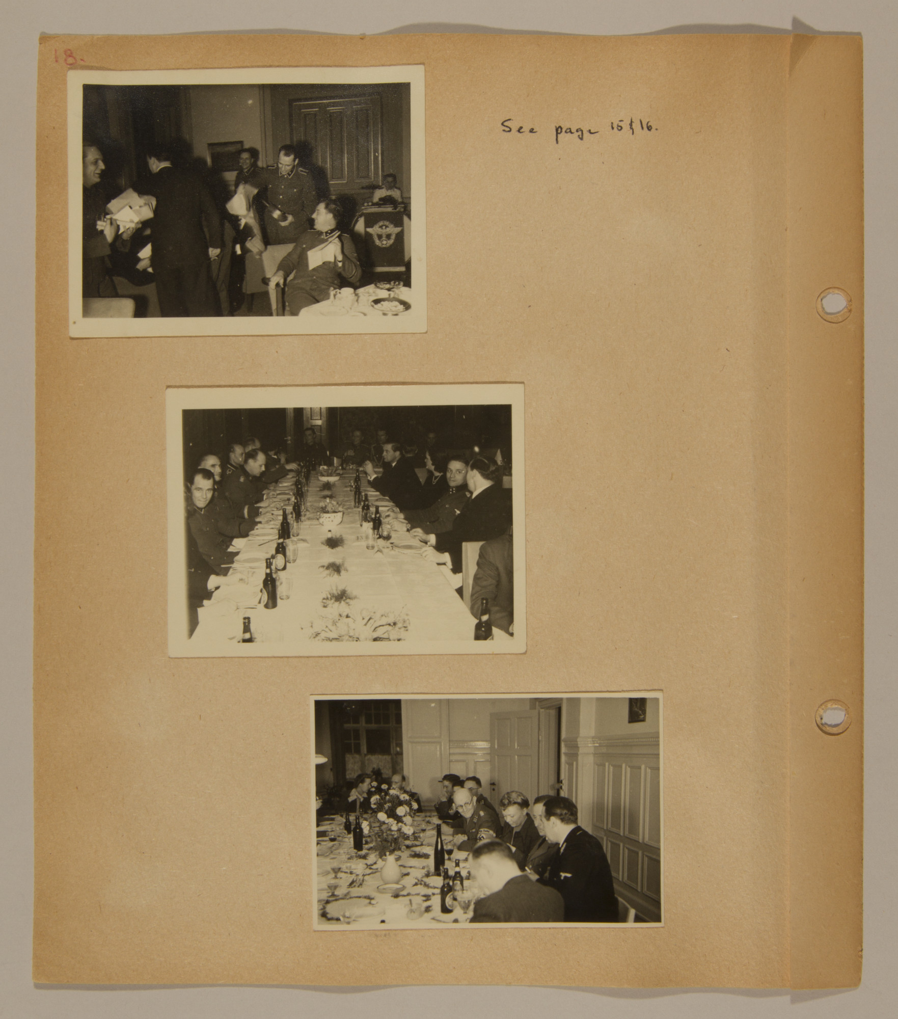 Page from volume three of a set of scrapbooks compiled by Bjorn Sibbern, a Danish policeman and resistance member, documenting the German occupation of Denmark.  This page contains photographs of a party for Walter Best, the German civil administrator in Denmark, taken by Bjorn Sibbern while using a forged press card with a false identity.