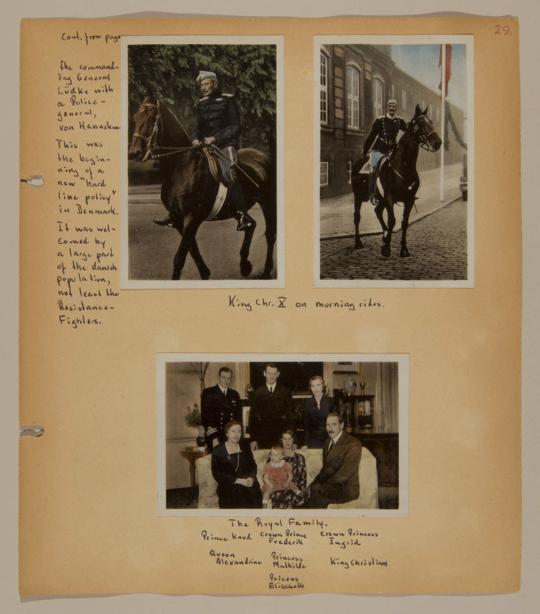 Page from volume three of a set of scrapbooks compiled by Bjorn Sibbern, a Danish policeman and resistance member, documenting the German occupation of Denmark.  This page contains photographs of the Danish royal family.