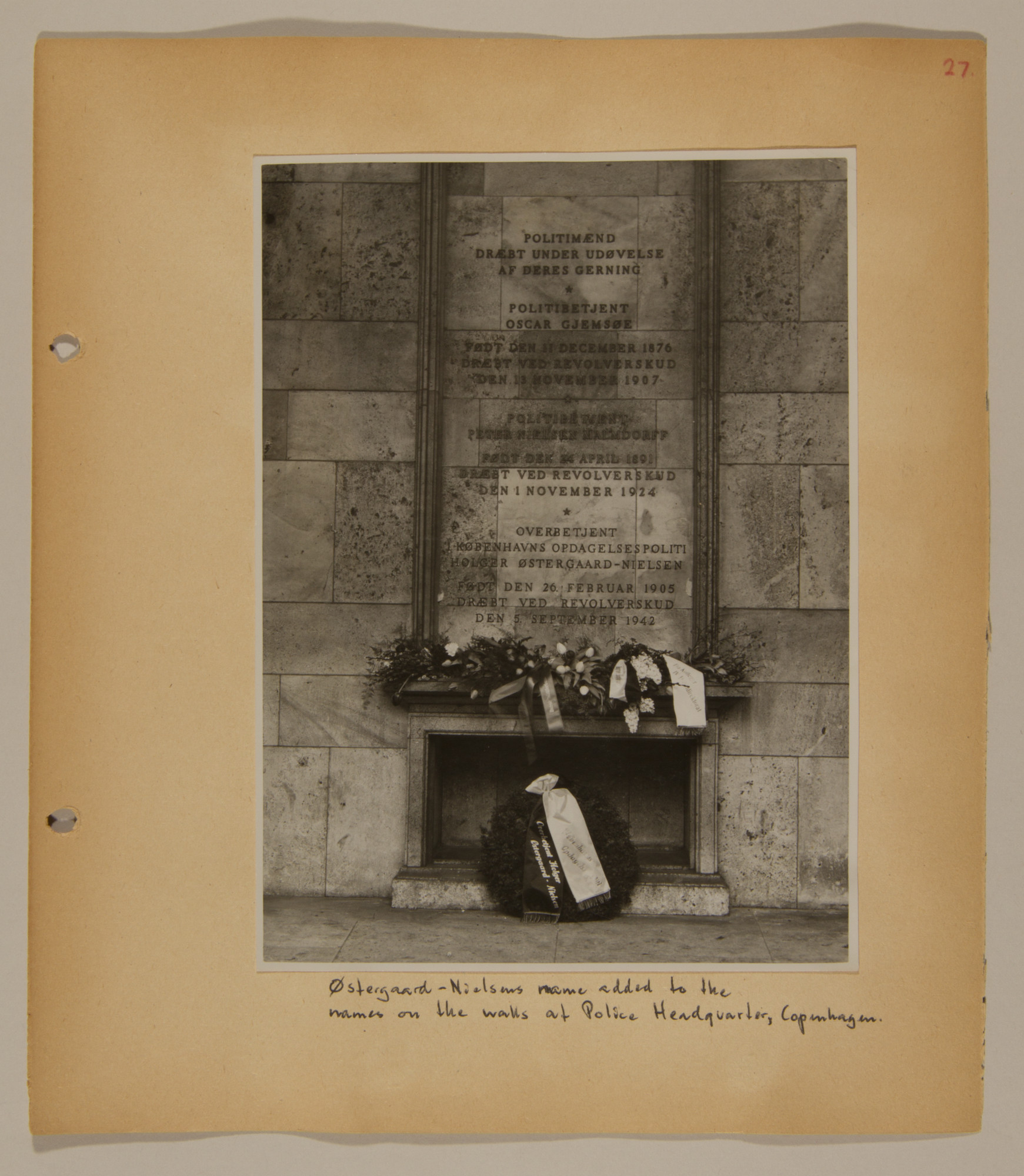 Page from volume three of a set of scrapbooks compiled by Bjorn Sibbern, a Danish policeman and resistance member, documenting the German occupation of Denmark.  This page contains a photograph of the memorial at the police headquarters in Copenhagen.