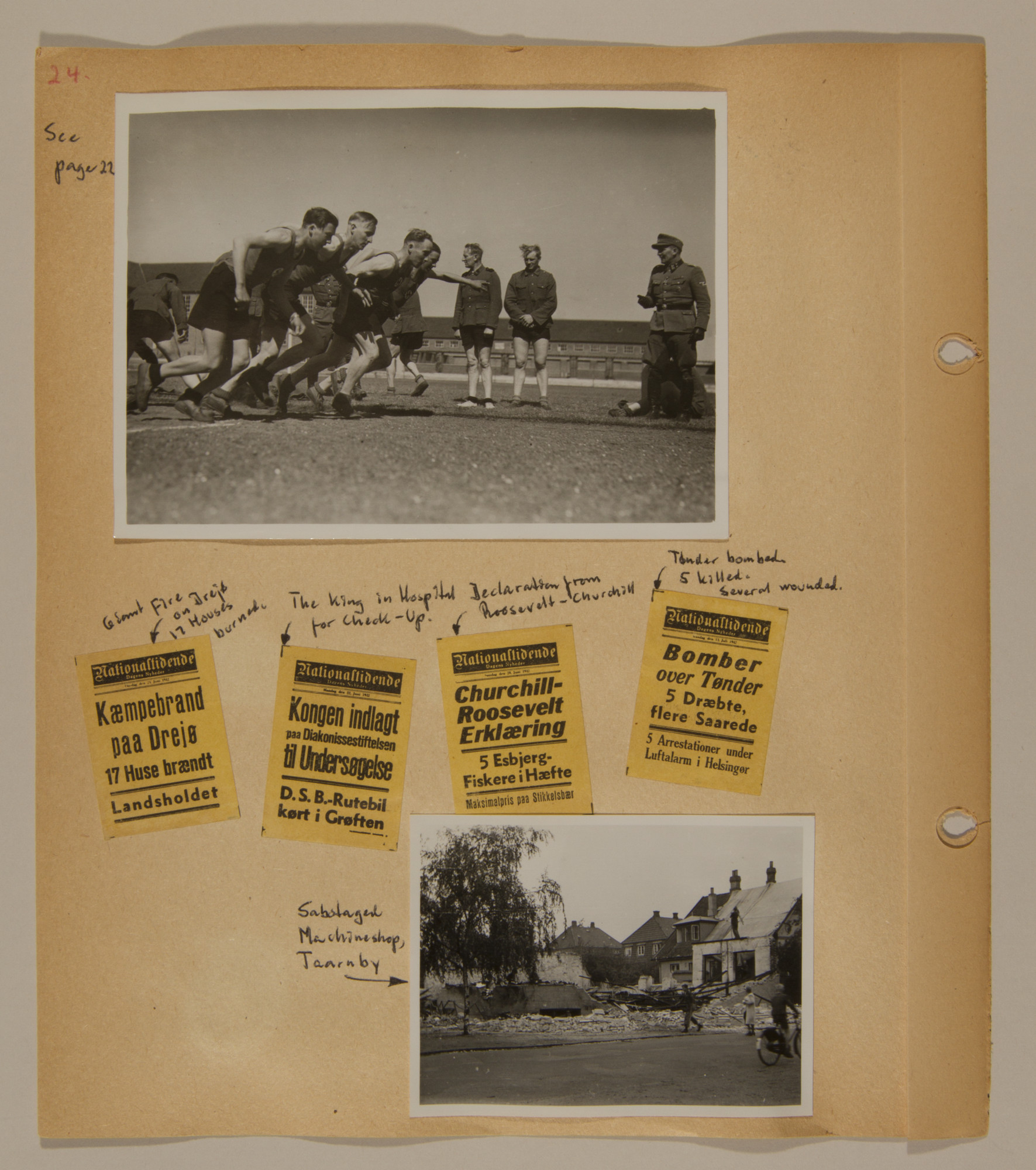 Page from volume three of a set of scrapbooks compiled by Bjorn Sibbern, a Danish policeman and resistance member, documenting the German occupation of Denmark.  This page contains a photo of Danish SS at a sporting event that was later used in Danish war crimes trials, newspaper headlines as well as a photo of sabotage.
