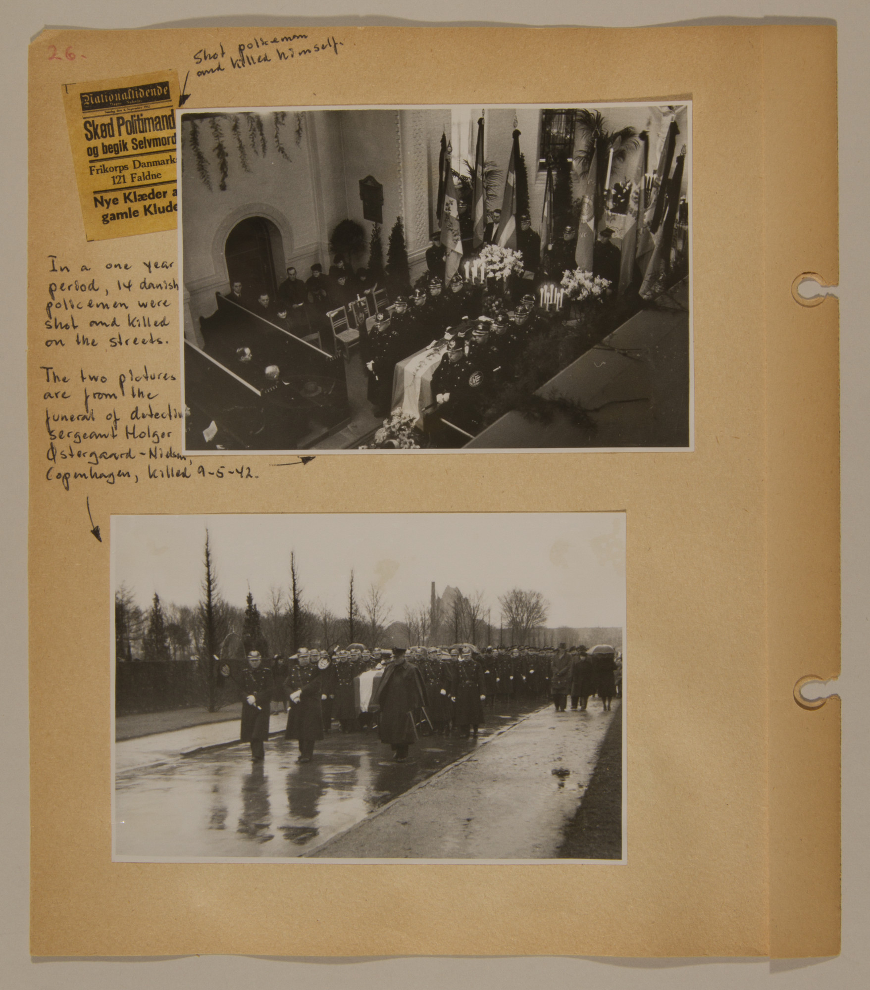 Page from volume three of a set of scrapbooks compiled by Bjorn Sibbern, a Danish policeman and resistance member, documenting the German occupation of Denmark.  This page contains photographs of a funeral for Danish policemen.