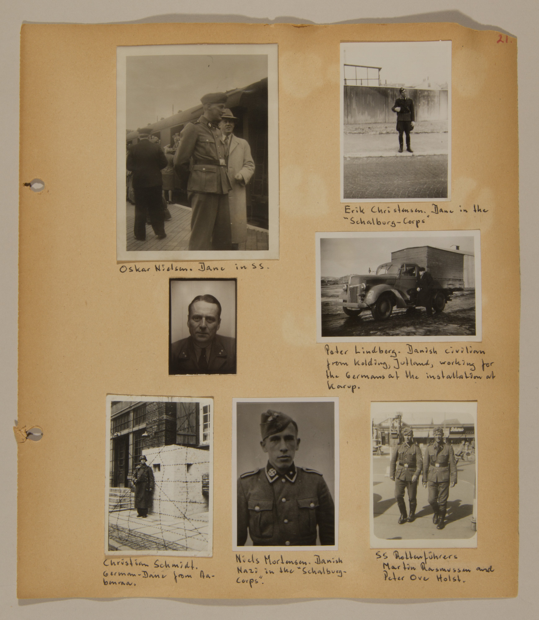Page from volume three of a set of scrapbooks compiled by Bjorn Sibbern, a Danish policeman and resistance member, documenting the German occupation of Denmark.  This page contains photographs of German officials and Danish Nazis, taken by Bjorn Sibbern while using a forged press card with a false identity.