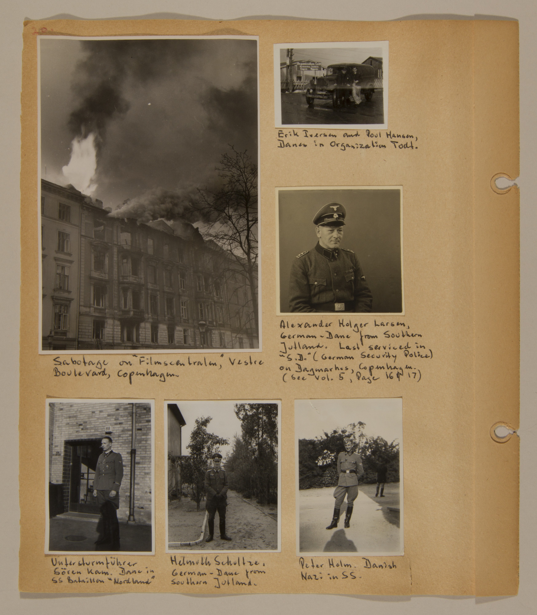 Page from volume three of a set of scrapbooks compiled by Bjorn Sibbern, a Danish policeman and resistance member, documenting the German occupation of Denmark.  This page contains photographs of German officials in Denmark and an act of sabotage, taken by Bjorn Sibbern while using a forged press card with a false identity.