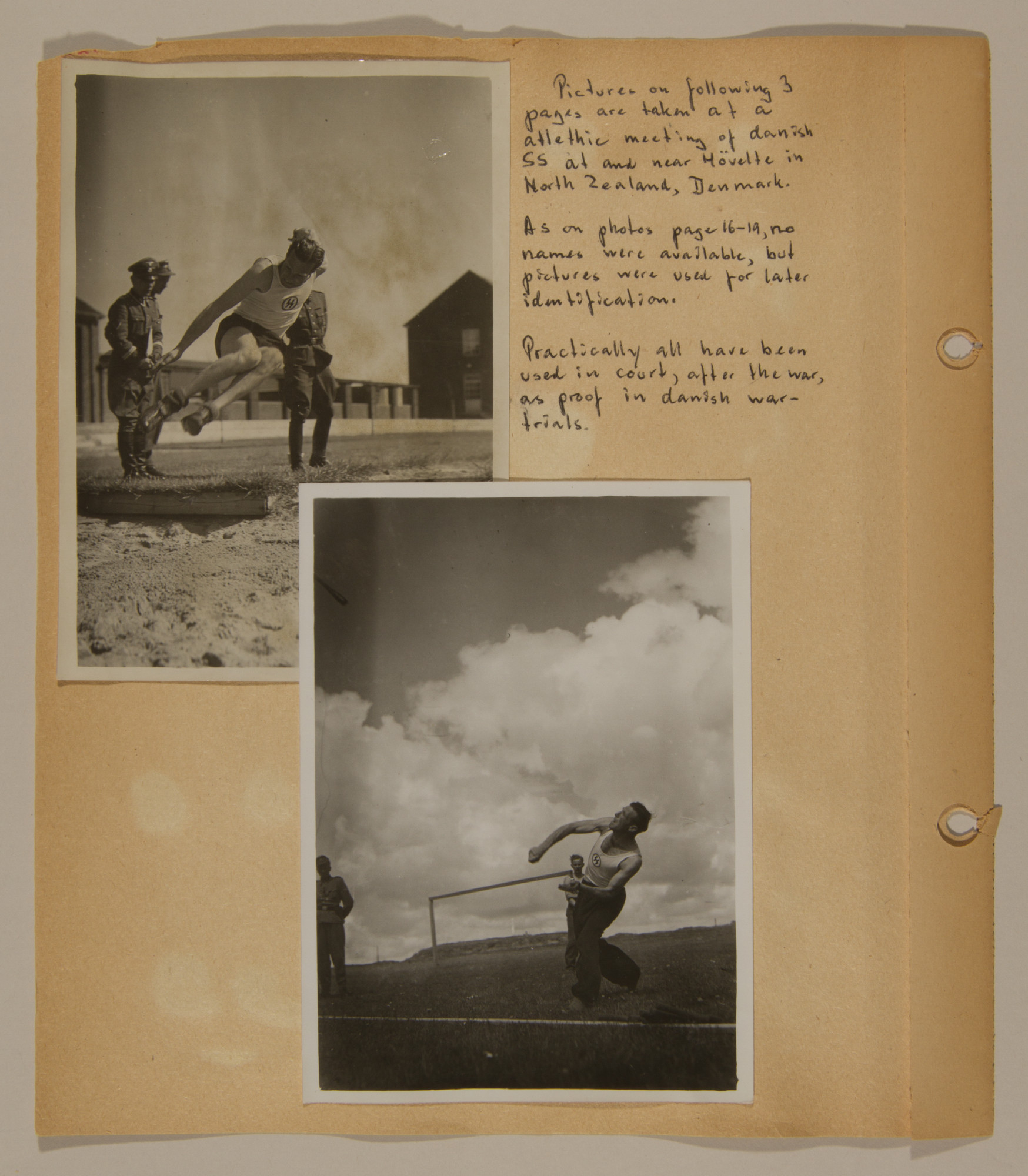 Page from volume three of a set of scrapbooks compiled by Bjorn Sibbern, a Danish policeman and resistance member, documenting the German occupation of Denmark.  This page contains photos of Danish SS at a sporting event that were later used in Danish war crimes trials.