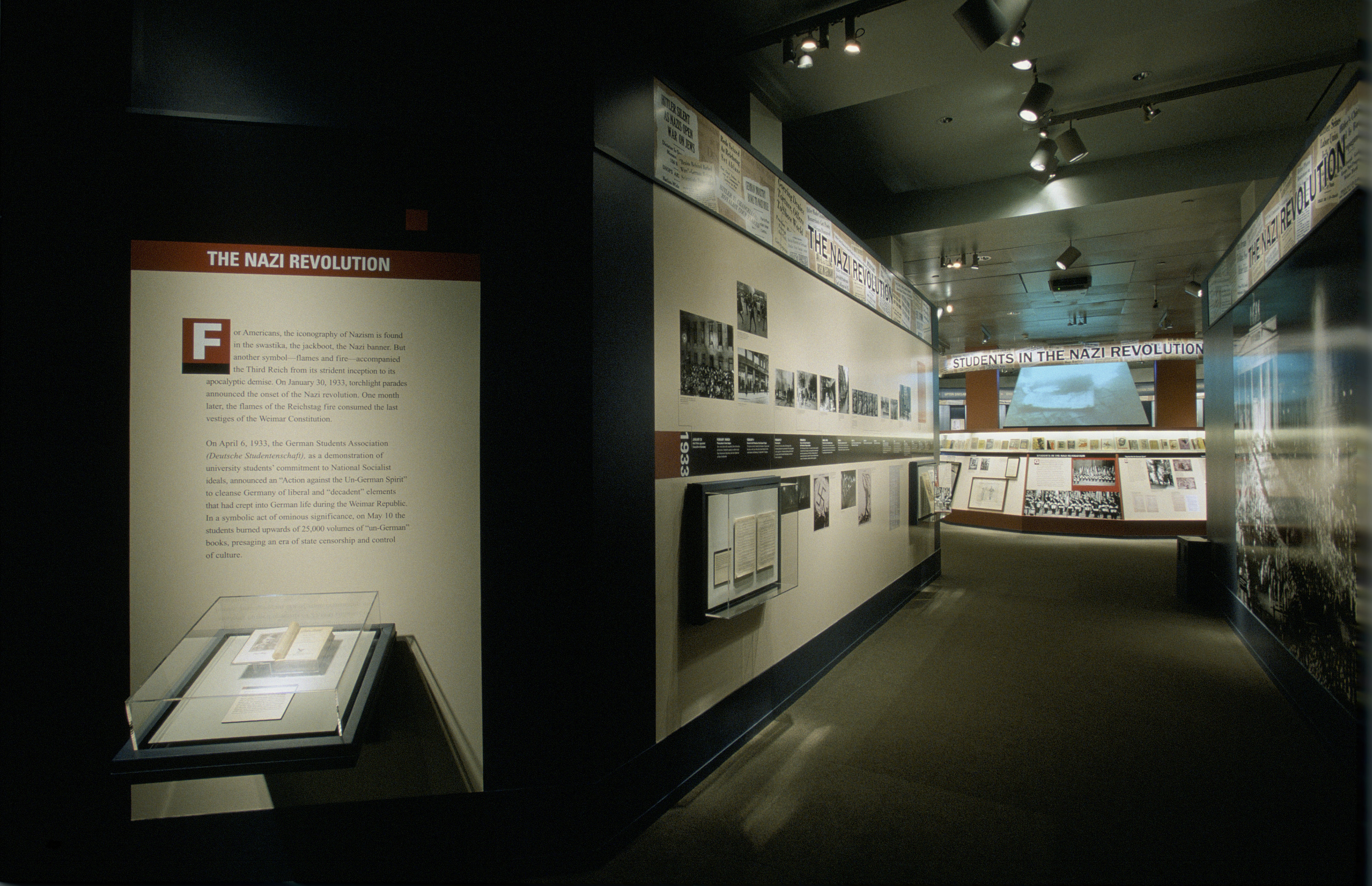 "View of the Nazi Revolution section of the special exhibition ""Fighting the Fires of Hate: America and the Nazi Book Burnings"" (April 29 -- October 13, 2003), U.S. Holocaust Memorial Museum."