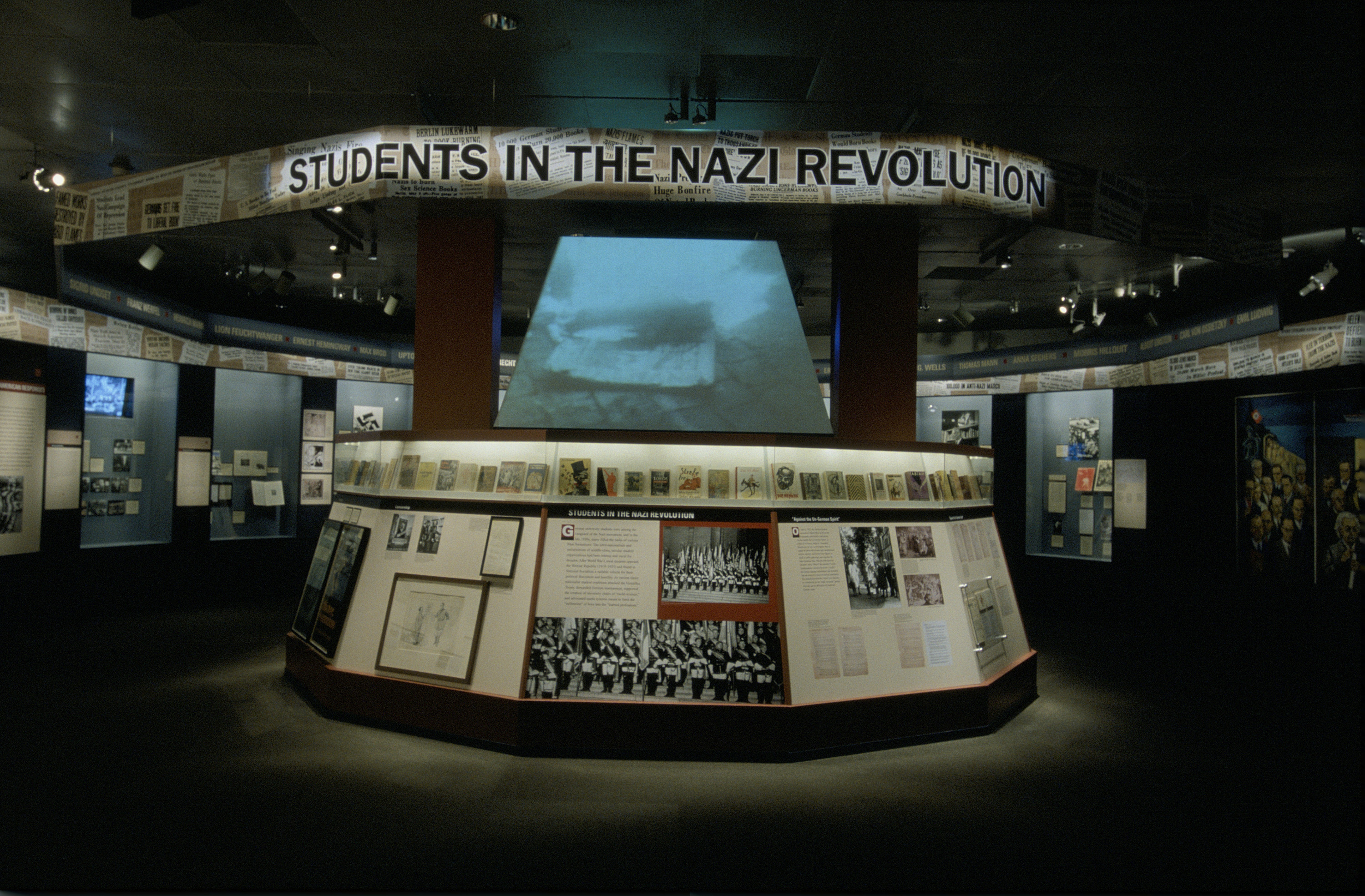 "View of the Students in the Nazi Revolution section of the special exhibition ""Fighting the Fires of Hate: America and the Nazi Book Burnings"" (April 29 -- October 13, 2003), U.S. Holocaust Memorial Museum."