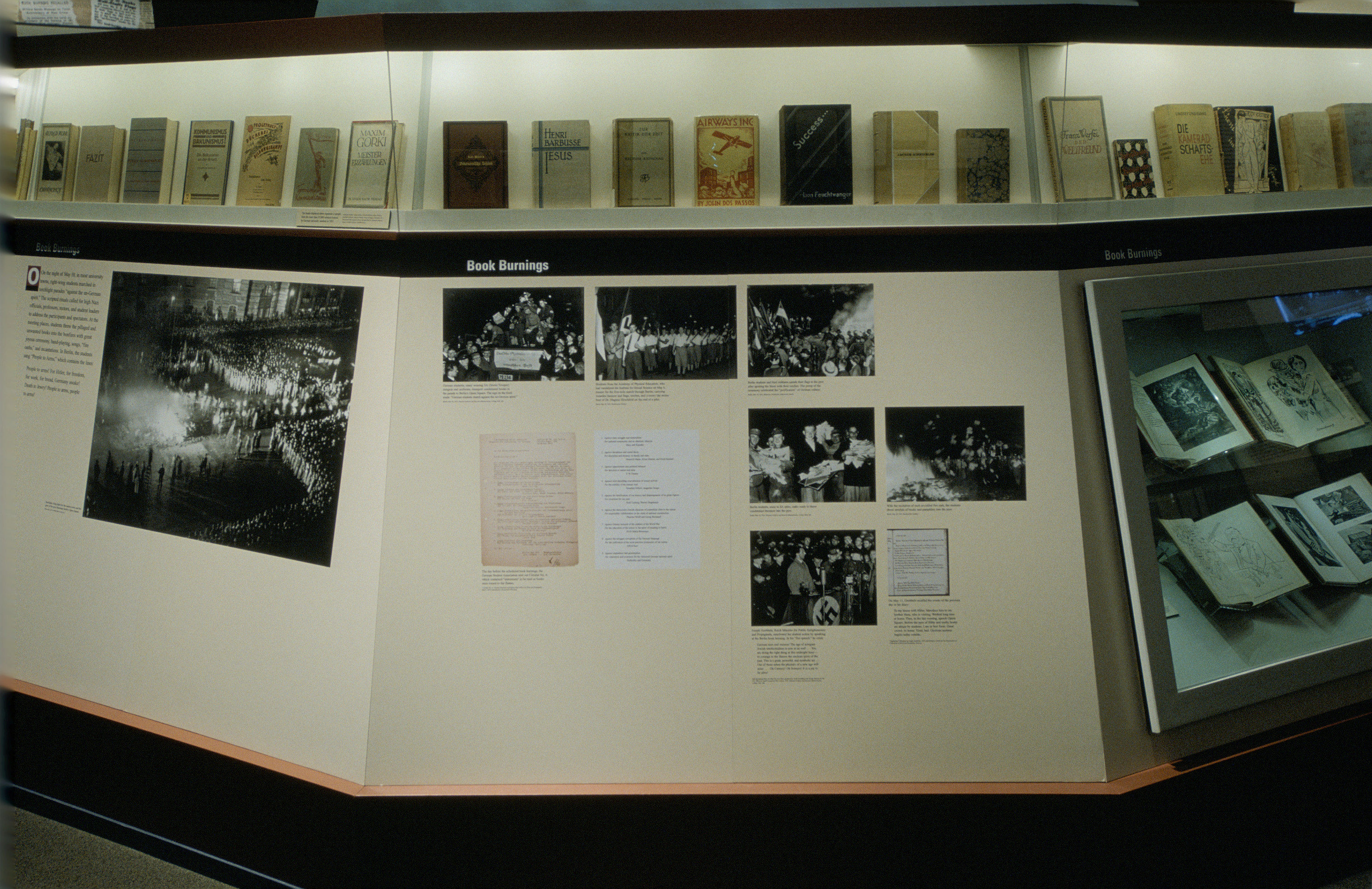 """View of a panel of the Students in the Nazi Revolution section of the special exhibition """"Fighting the Fires of Hate: America and the Nazi Book Burnings"""" (April 29 -- October 13, 2003), U.S. Holocaust Memorial Museum."""