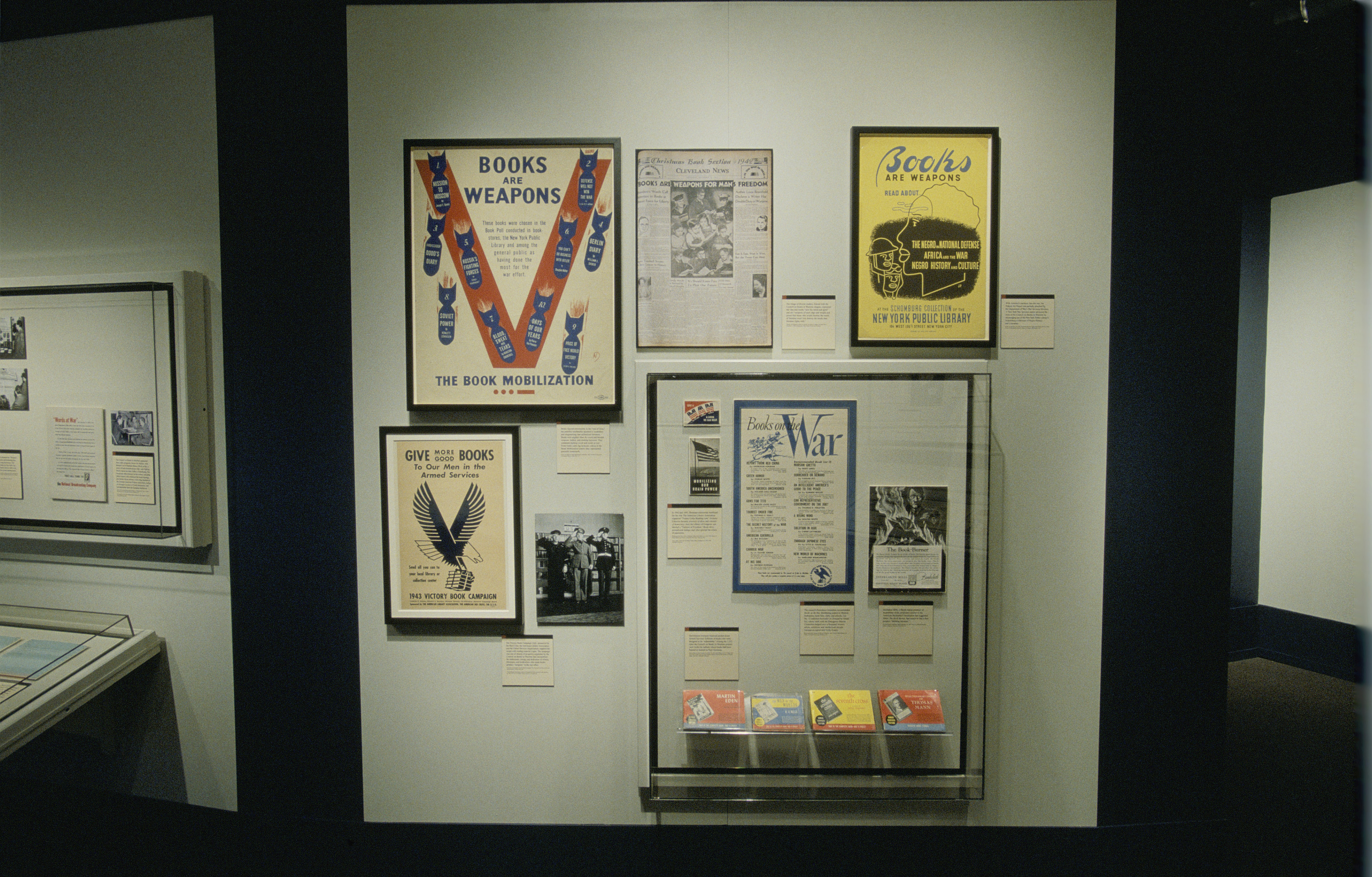 """View of one panel of the special exhibition """"Fighting the Fires of Hate: America and the Nazi Book Burnings"""" (April 29 -- October 13, 2003), U.S. Holocaust Memorial Museum."""